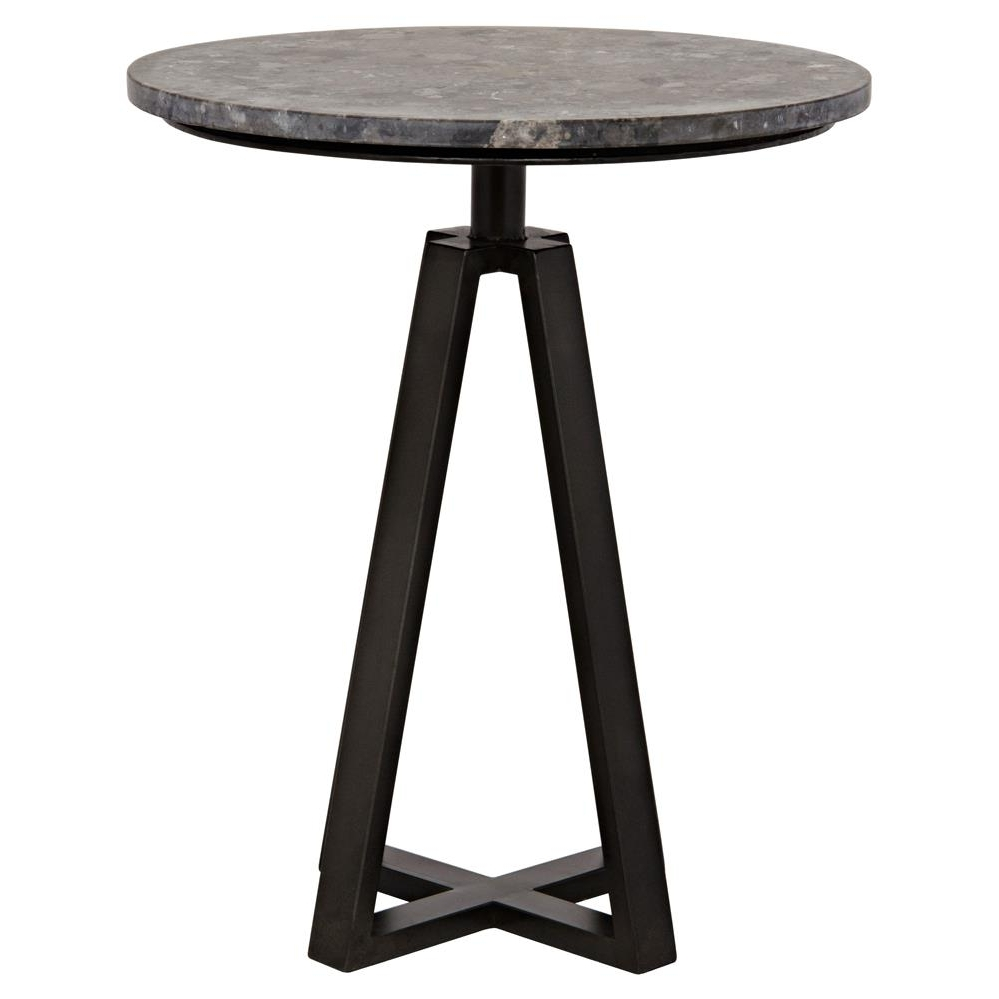 Popular Jackson Marble Side Tables Inside Damian Industrial Loft Round Black Marble Metal Side End Table (View 9 of 20)