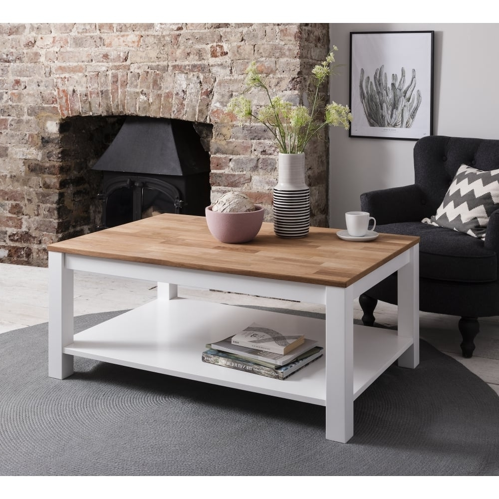 Popular Natural Pine Coffee Tables Pertaining To Hever Coffee Table In White And Natural Pine – For Mum & Dad From (View 3 of 20)