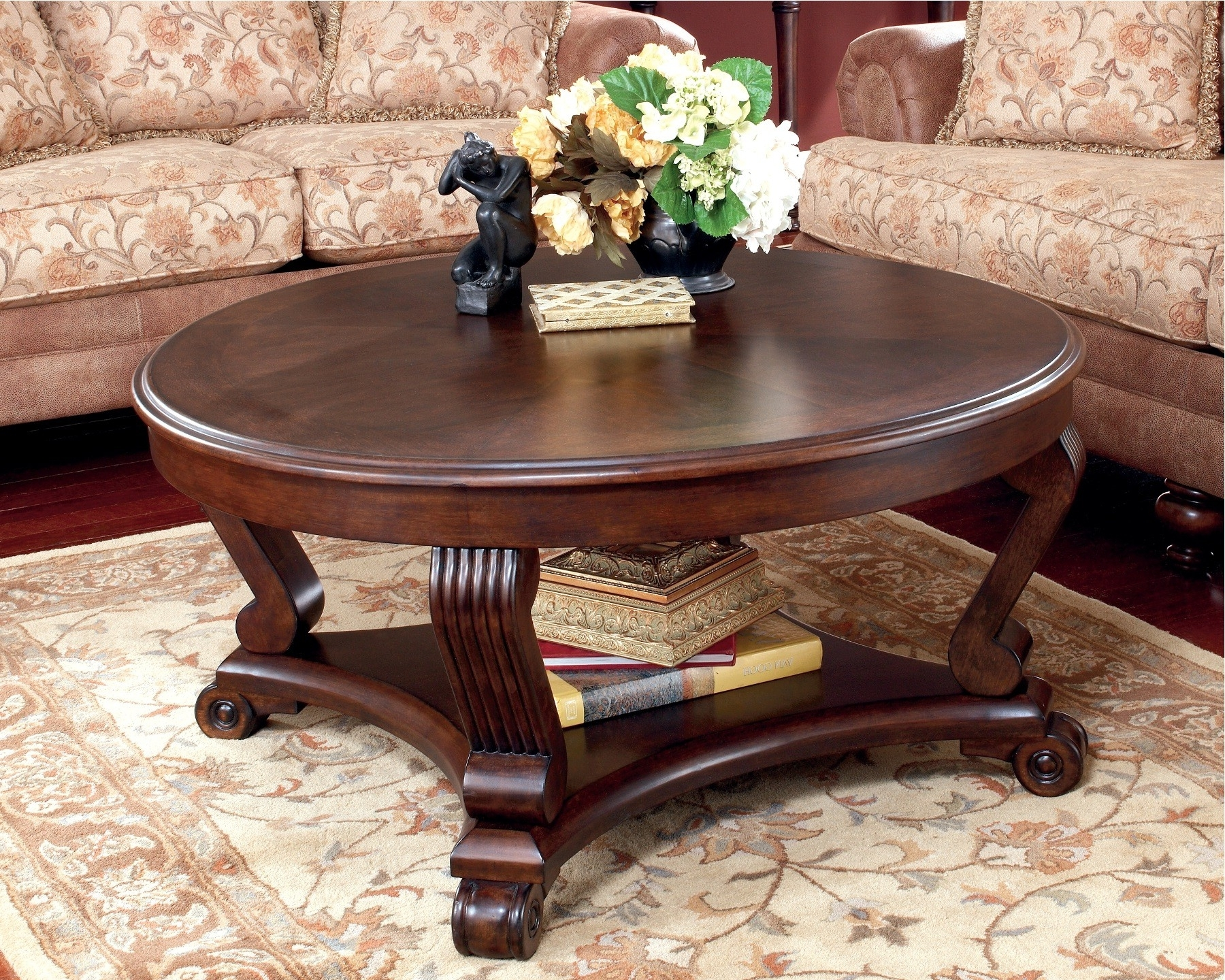 Popular Round Carved Wood Coffee Tables With 19 Round Coffee Table Design Collection For Complete Furniture (View 11 of 20)