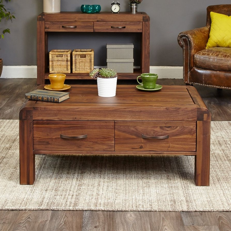 Popular Walnut 4 Drawer Coffee Tables With Solid Walnut Coffee Table With 4 Drawers – Shiro Walnut (View 6 of 20)