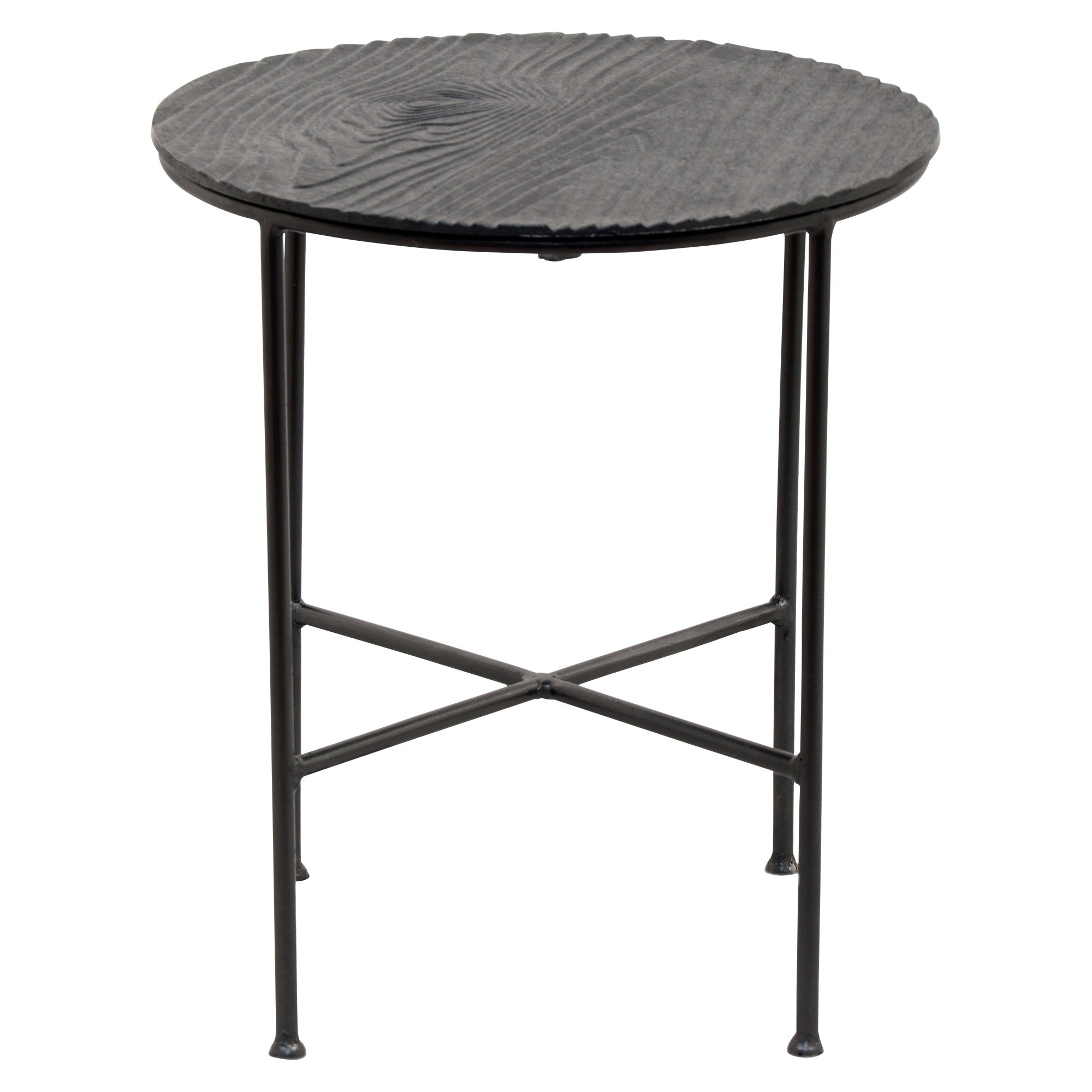 Preferred Bale Rustic Grey Round Cocktail Tables With Storage Pertaining To Shop Renwil Bale Grey Aluminum Round Accent Table – Free Shipping (View 7 of 20)