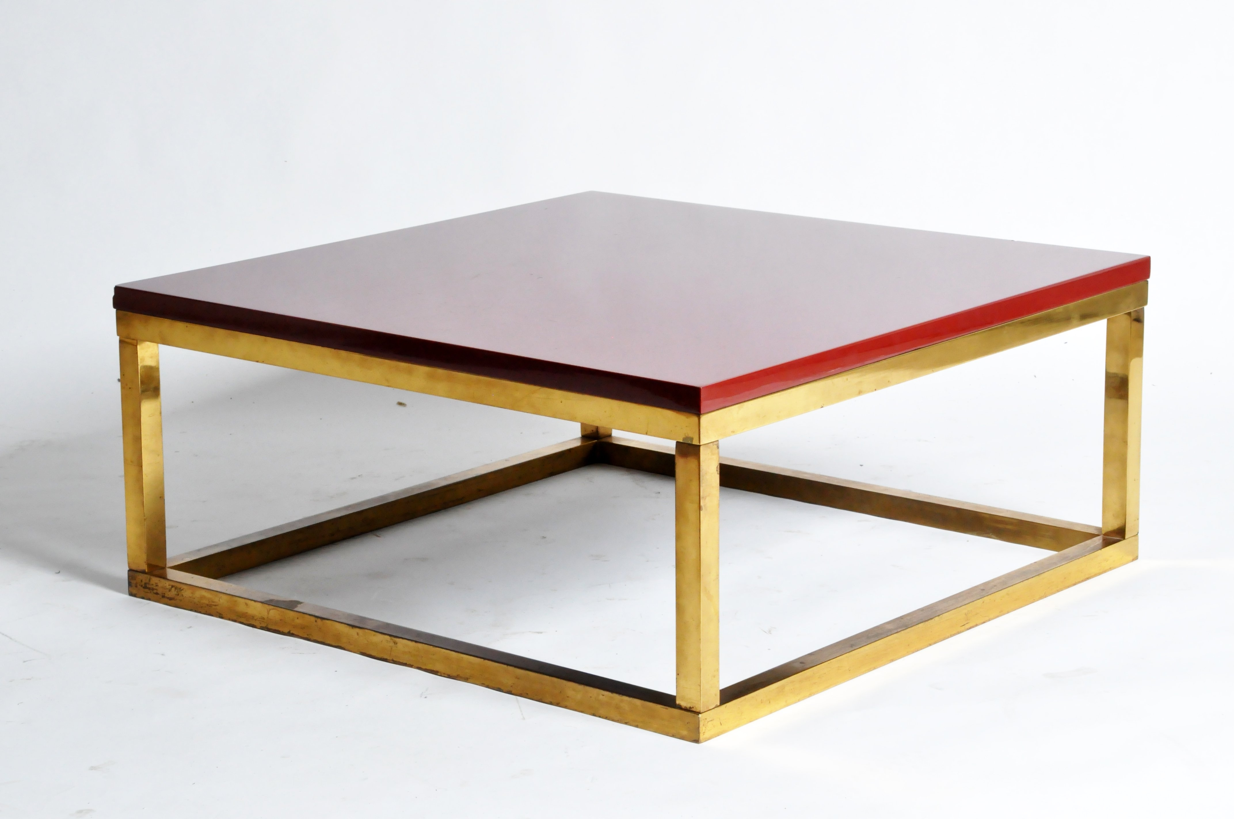 Preferred Brass Iron Cube Tables With Red Lacquer And Brass Cube Low Tables In The Style Of Kai (View 10 of 20)