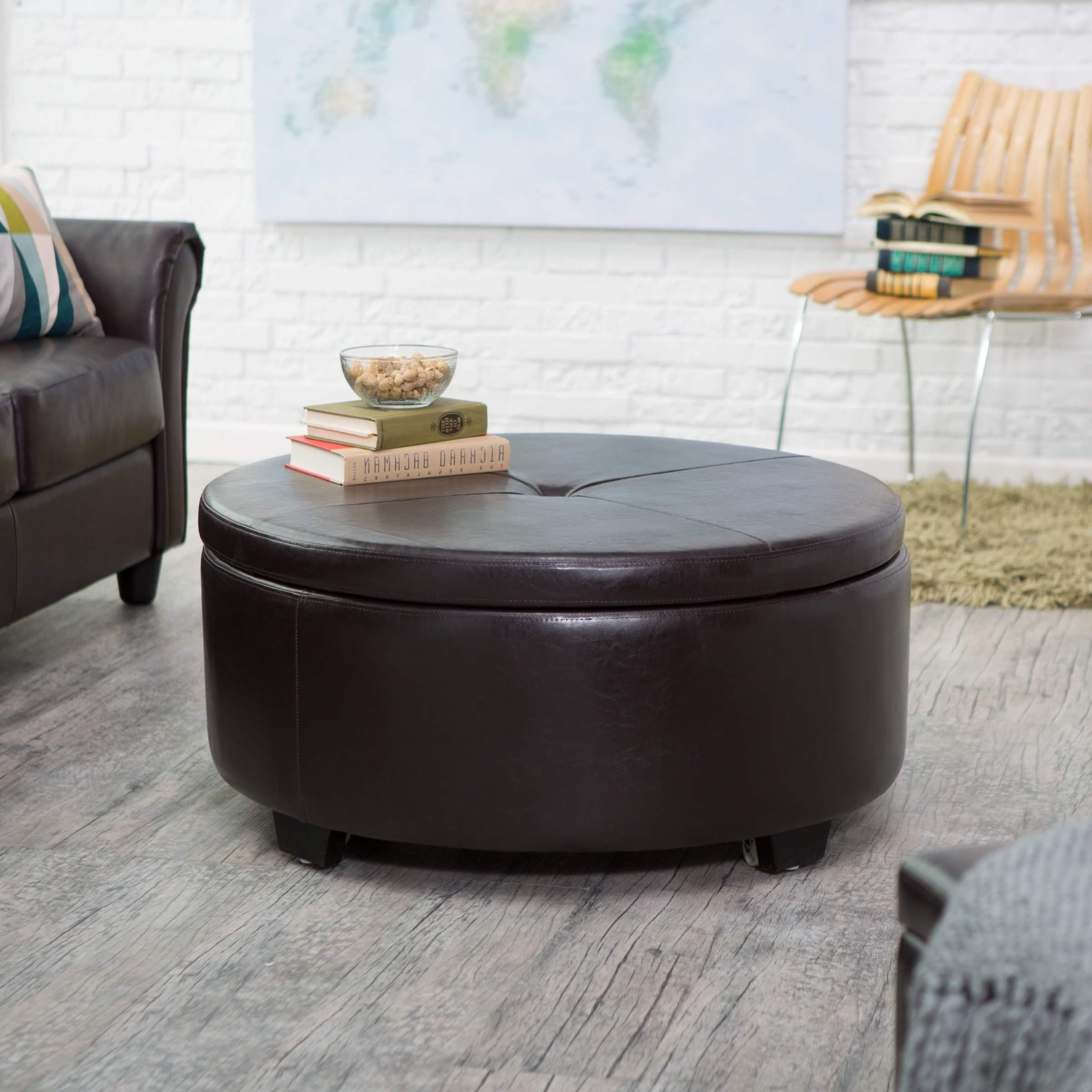 Preferred Button Tufted Coffee Tables Pertaining To 36 Top Brown Leather Ottoman Coffee Tables (View 8 of 20)