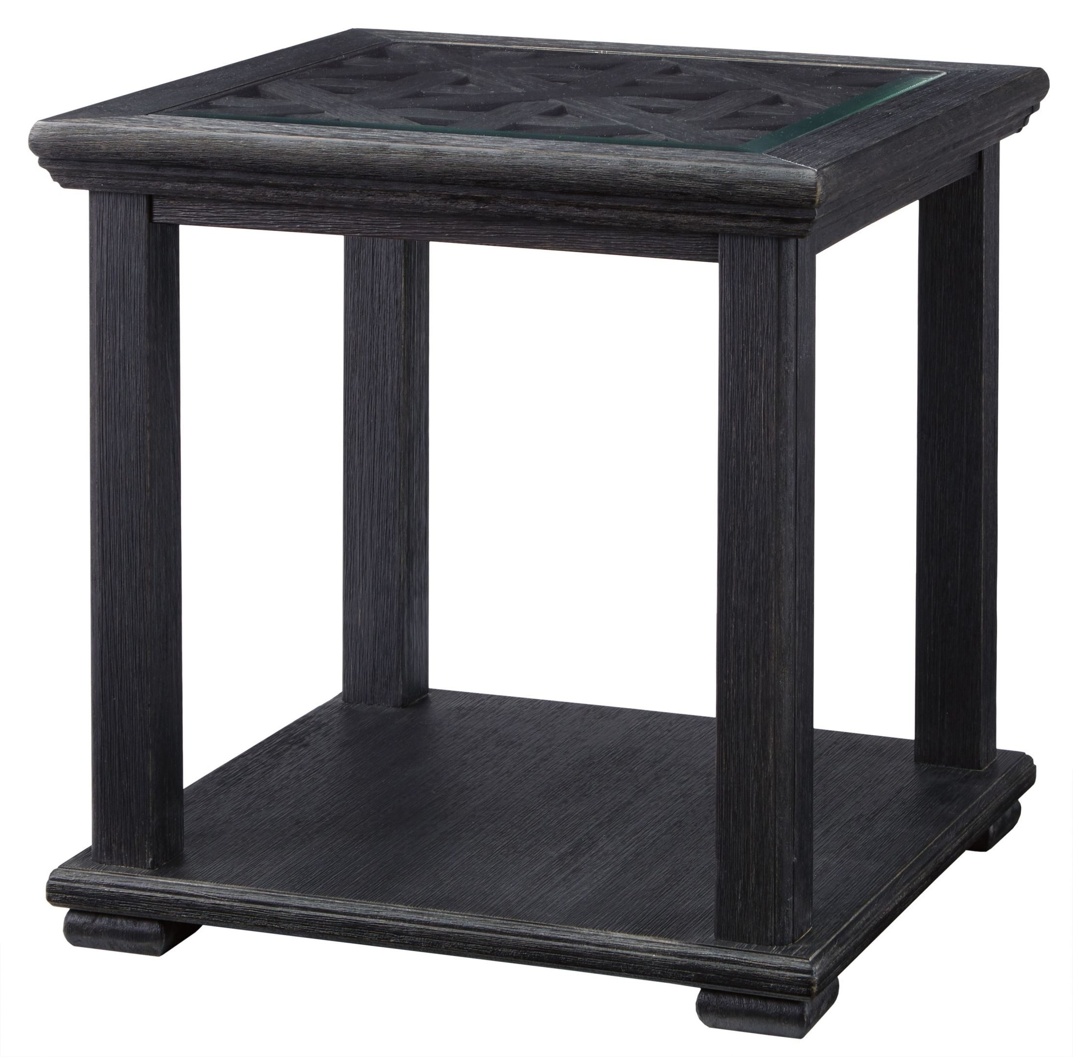 Preferred Carissa Cocktail Tables Intended For Signature Designashley Tyler Creek Black Square End Table (View 14 of 20)