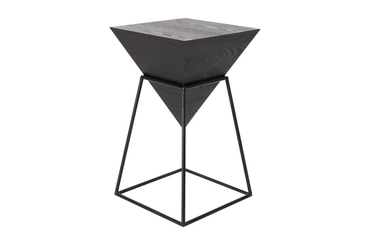 Preferred Inverted Triangle Coffee Tables Throughout Modern Reflections Inverted Pyramid Accent Table In Metallic Black (View 5 of 20)