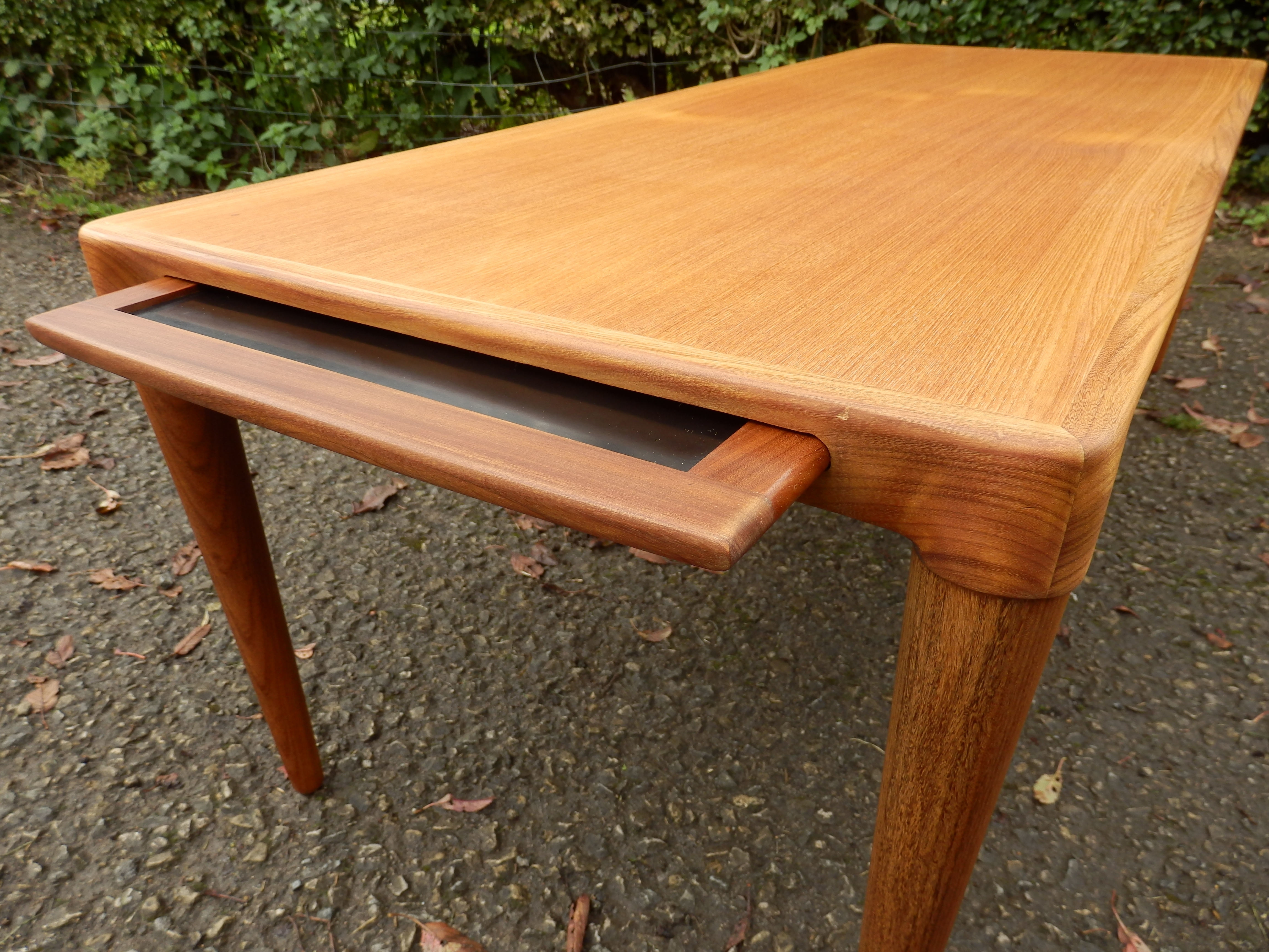 Preferred Large Teak Coffee Tables Inside Very Rare Large Teak Coffee Table With Slide Out Drinks Tray (View 11 of 20)