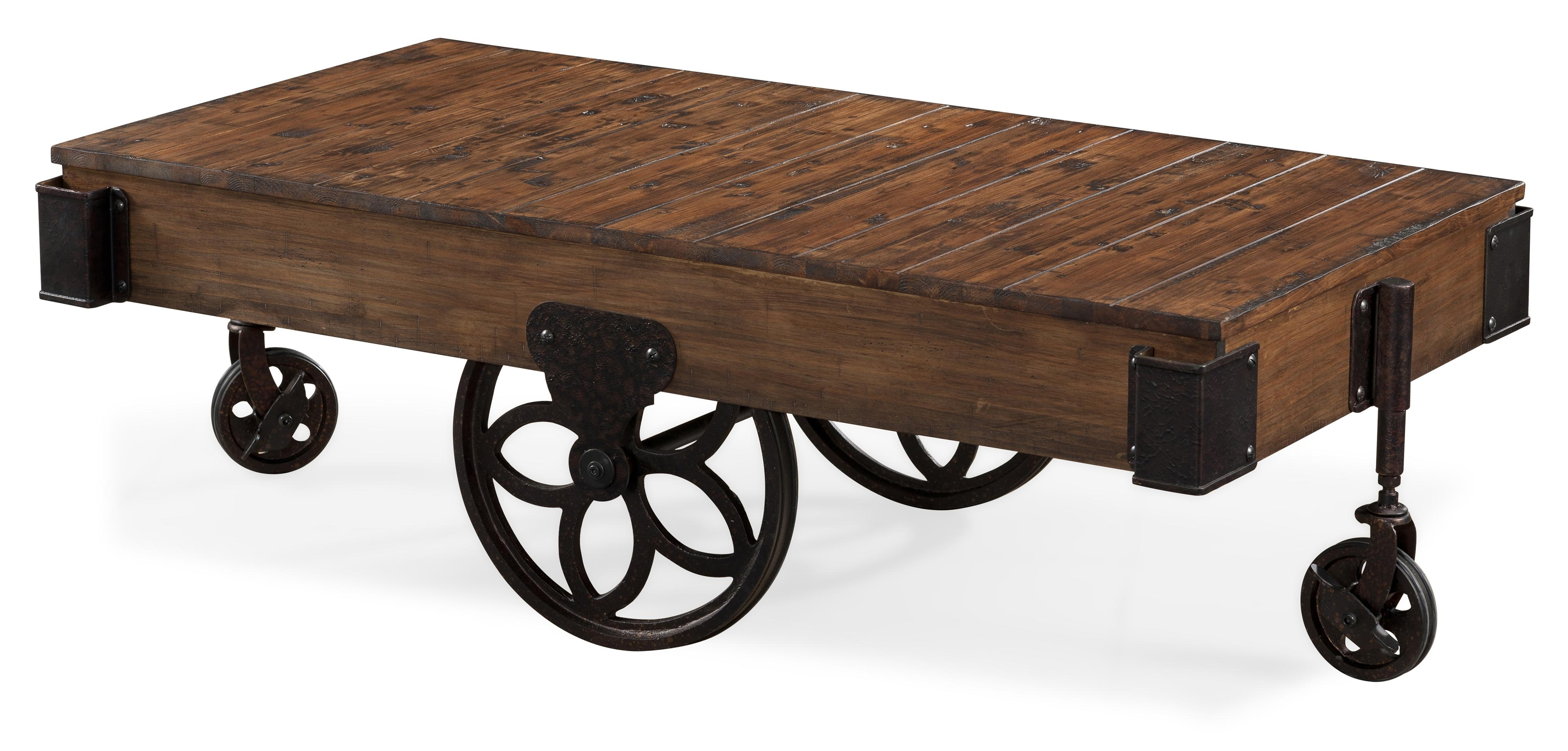 Preferred Ontario Cocktail Tables With Casters With Regard To Magnussen Home Larkin Industrial Style Rectangular Cocktail Table (View 12 of 20)