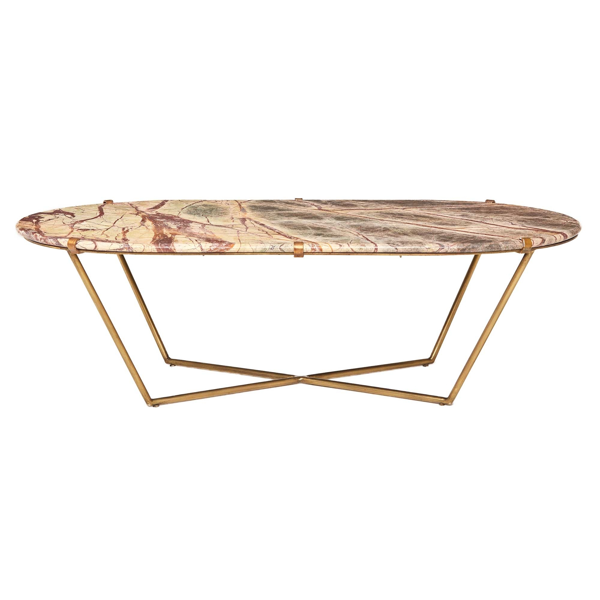 Preferred Parker Oval Marble Coffee Tables With Regard To Clipper Coffee Table, Antique Brass And Variegated Veined Marble (View 2 of 20)