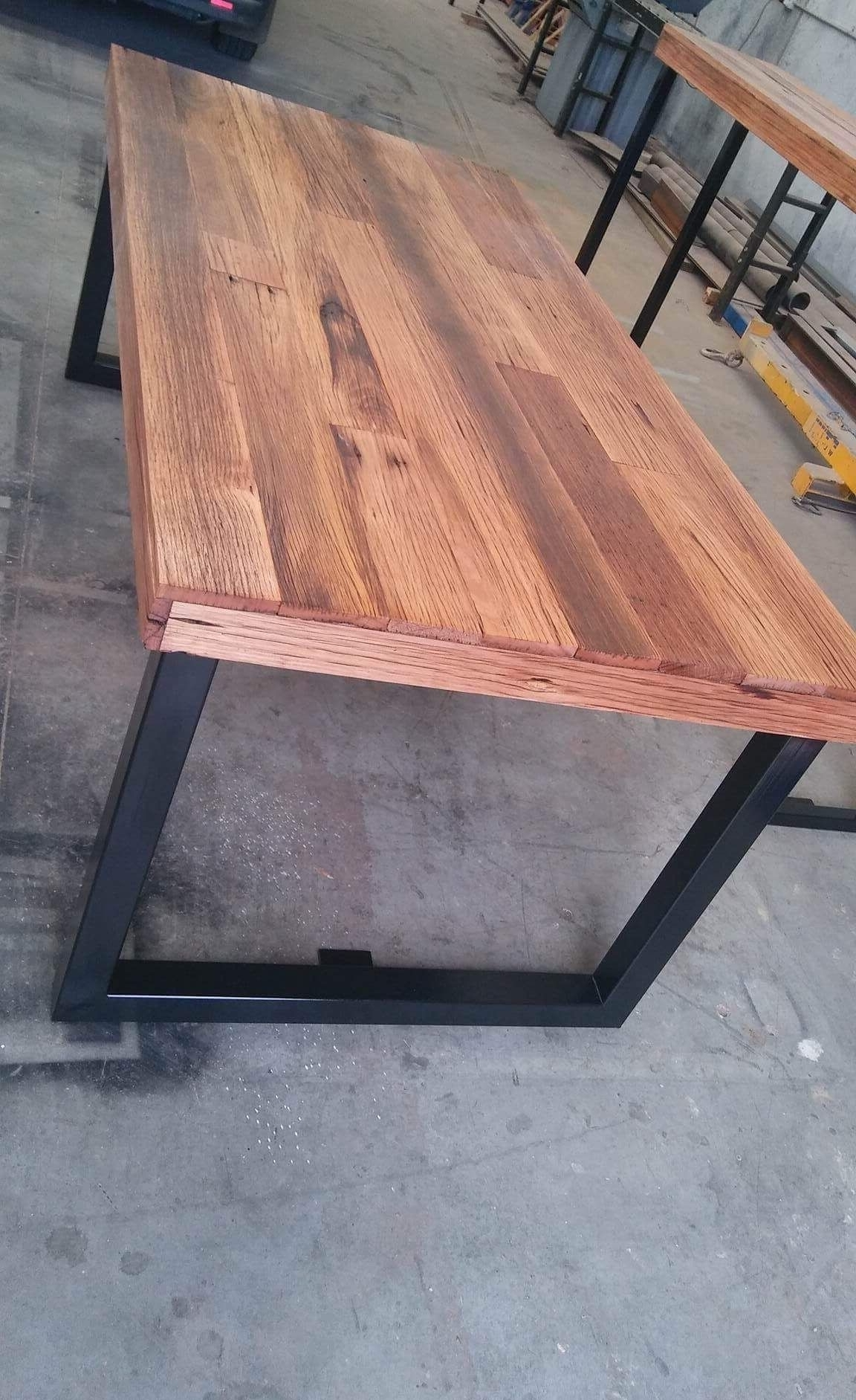 Preferred Recycled Pine Stone Side Tables In Recycled Timber Palings Industrial Dining Table With Black Metal (View 17 of 20)