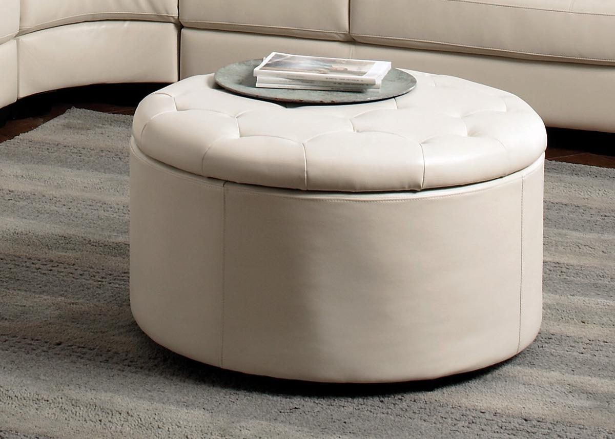 Preferred Round Button Tufted Coffee Tables With Regard To Square Ottoman Coffee Table With Storage And Tray Fabric Round (View 4 of 20)