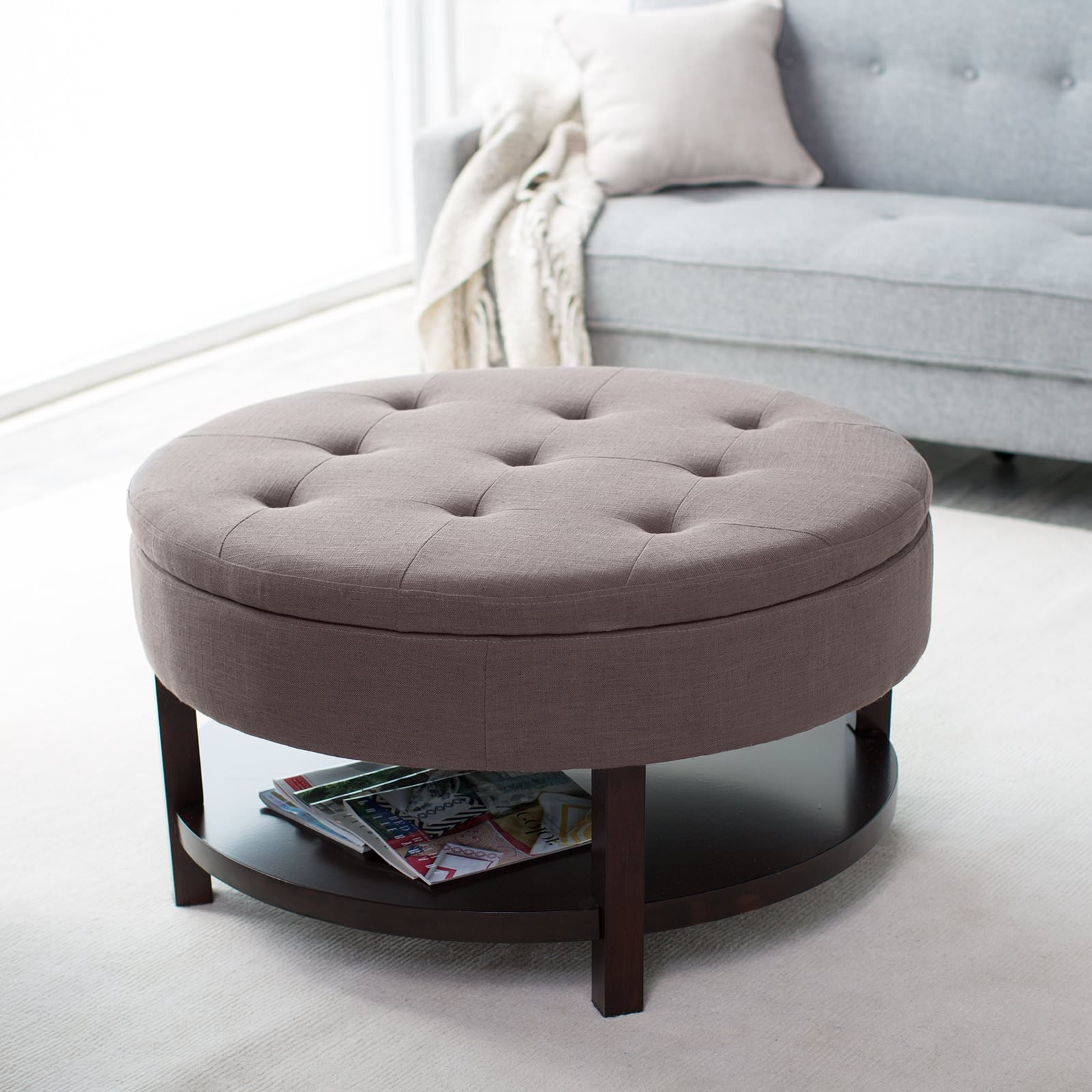 Preferred Round Button Tufted Coffee Tables Within Round Fabric Ottoman Coffee Table — Sushi Ichimura Decor (View 10 of 20)
