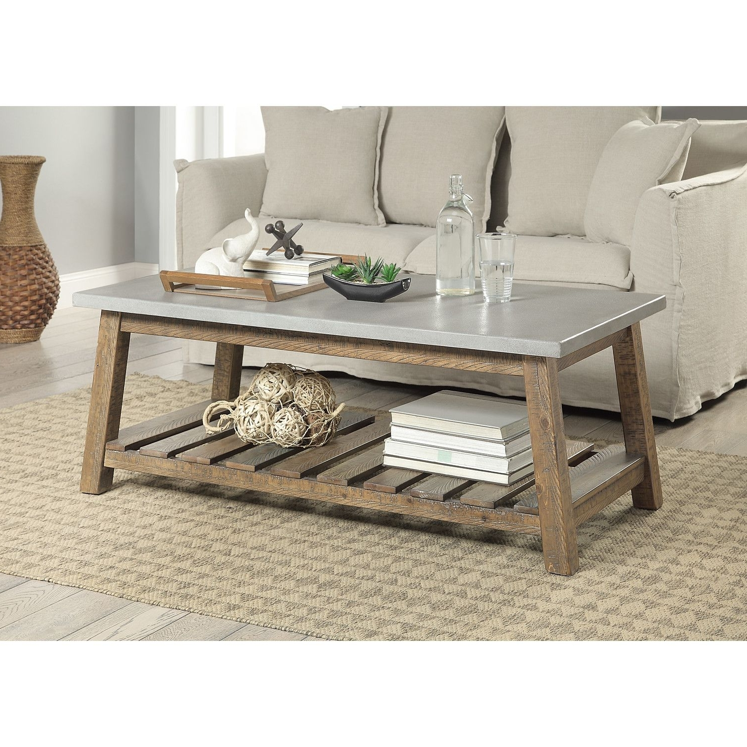 Preferred Santa Fe Coffee Tables With Regard To Features: Fir And Concrete Blend. Casual Rustic. Color: Grey (View 18 of 20)
