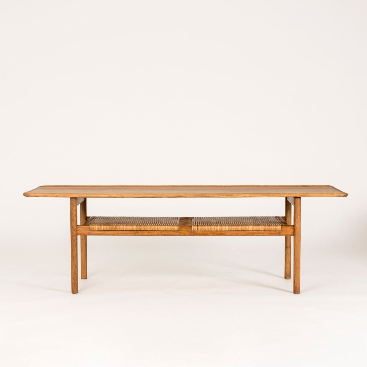 Preferred Smoked Oak Coffee Tables Intended For Mid Century Smoked Oak & Rattan Coffee Tablehans J (View 14 of 20)