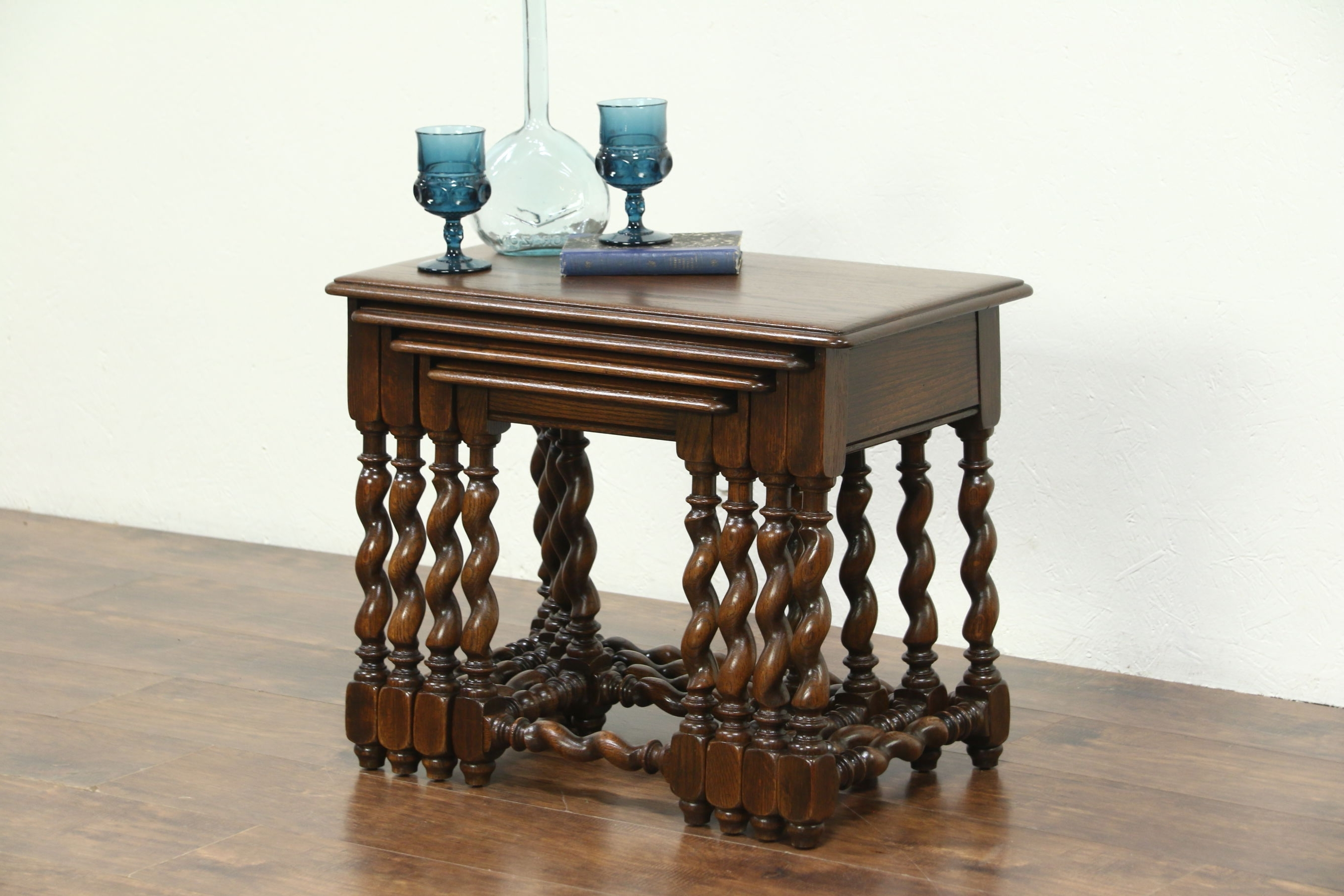 Recent Barley Twist Coffee Tables Within Sold – Set Of 4 Oak 1930 Vintage Nesting Tables, Carved Spiral (View 17 of 20)