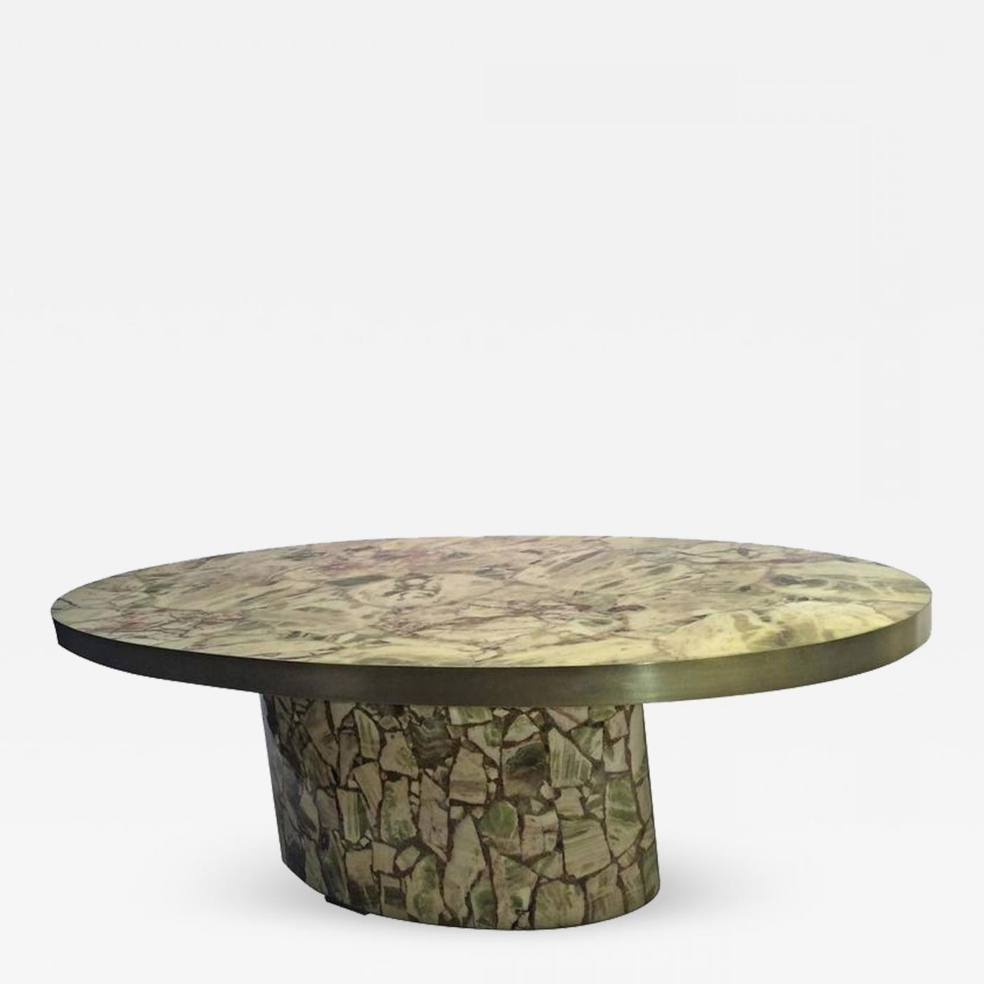 Recent Joni Brass And Wood Coffee Tables With Regard To Italian Fractured Green Onyx Resin Oval Coffee Table (View 16 of 20)