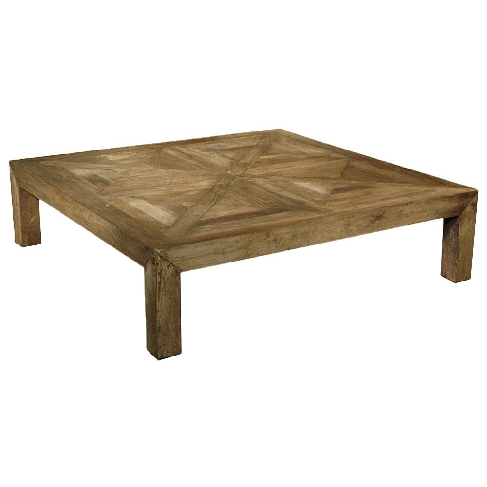 Recent Parquet Coffee Tables Inside Birkby Rustic Lodge Natural Elm Parquet Square Coffee Table (View 7 of 20)