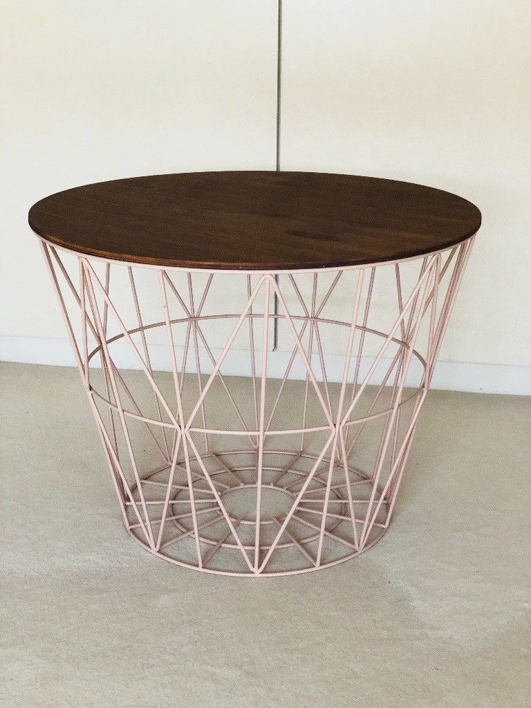 """Recent Smoked Oak Side Tables Throughout Ferm Living """"wire Basket"""" Medium Side/couch Table (smoked Oak/rose (View 20 of 20)"""