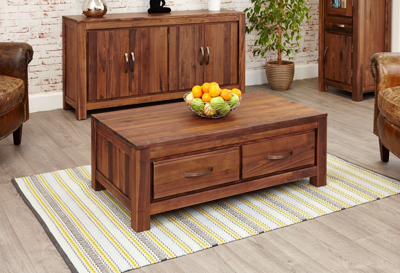 Recent Walnut 4 Drawer Coffee Tables With Mayan Walnut Low 4 Drawer Coffee Table (View 7 of 20)