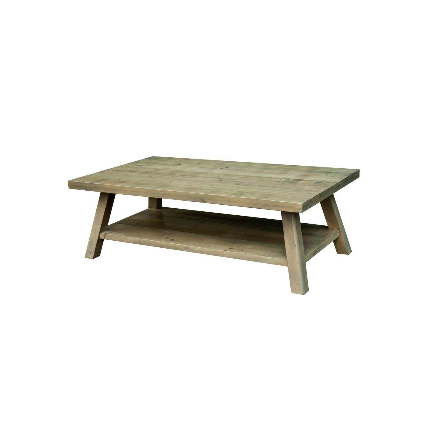 Reclaimed Pine Timber Open Shelf Coffee Table (View 13 of 20)