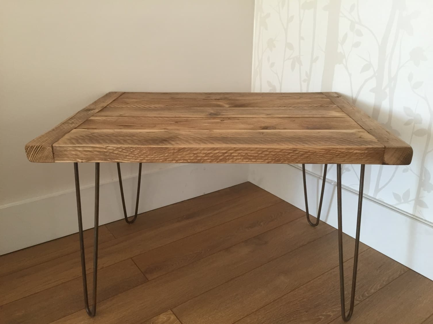 Reclaimed Rustic Solid Pine Coffee Table With Metal Hairpin Legs For Latest Reclaimed Pine & Iron Coffee Tables (View 11 of 20)