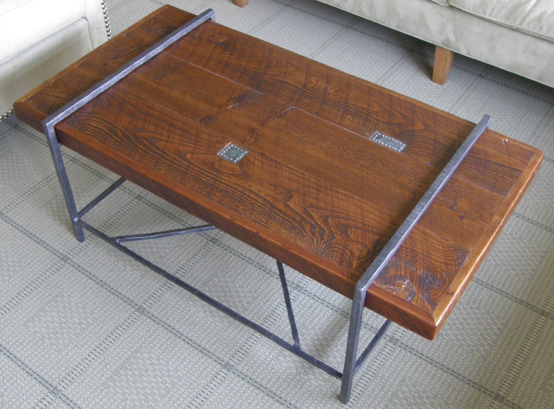Reclaimed Wood Coffee Table Top With Metal Base – Youtube In Popular Pine Metal Tube Coffee Tables (View 15 of 20)