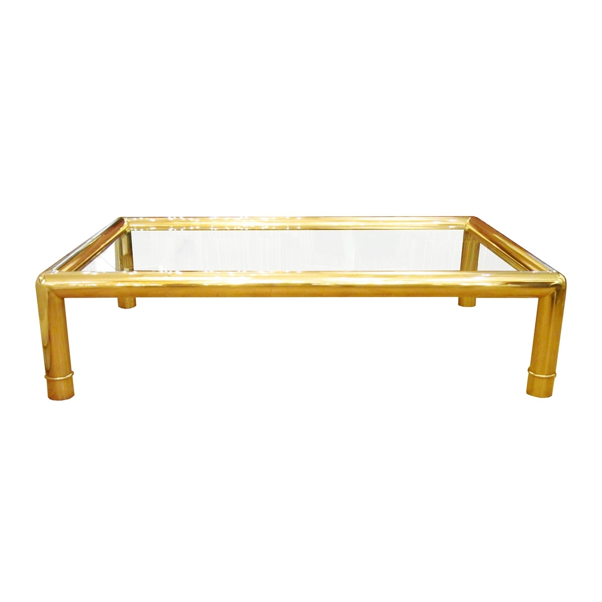 Rectangular Coffee Table With Tubular Brass Frame And Glass Top Within Best And Newest Rectangular Coffee Tables With Brass Legs (View 14 of 20)