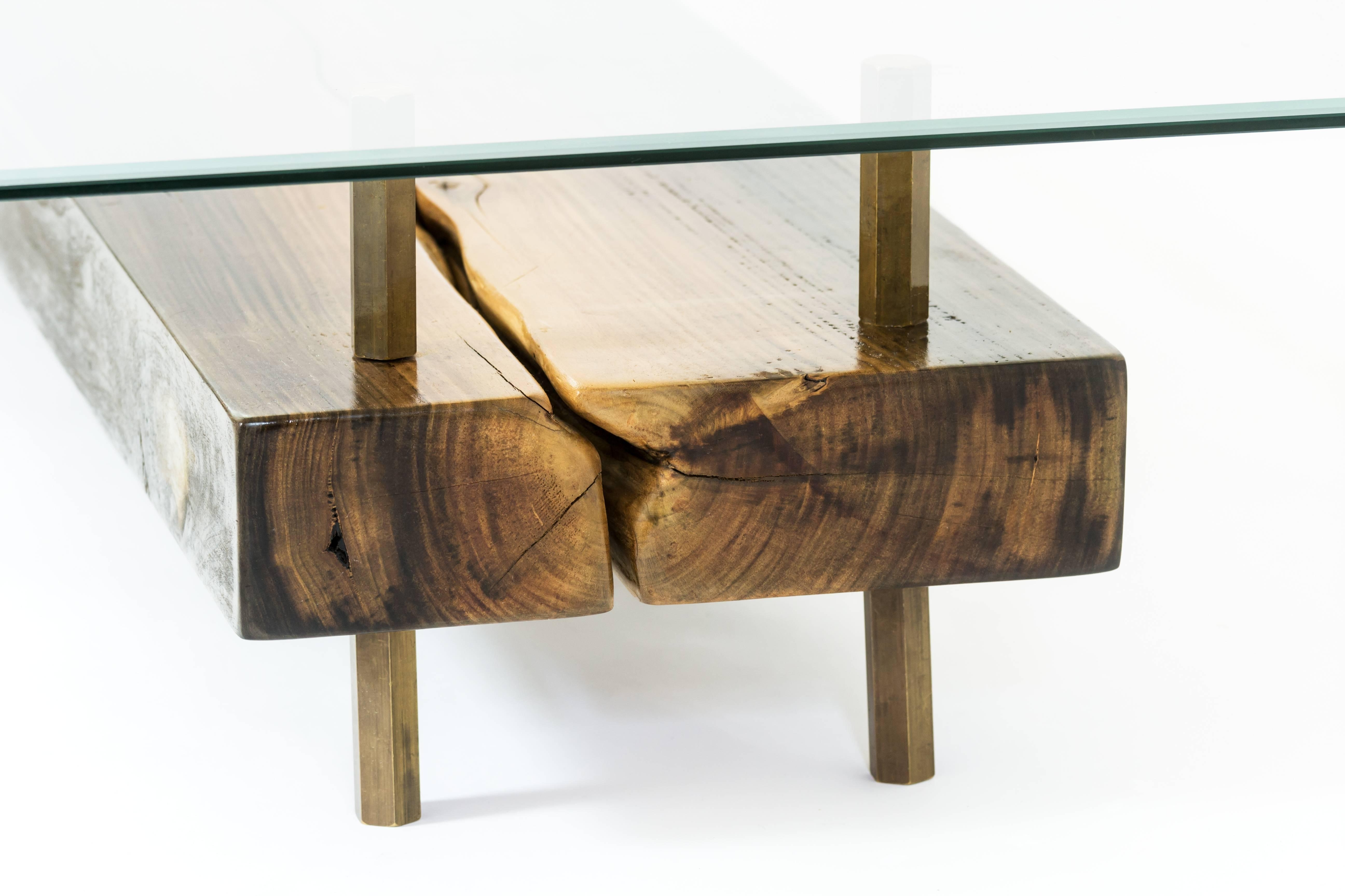 Rectangular Connection Of Mahoe Wood, Brass Legs And Glass Cocktail Regarding Most Popular Rectangular Coffee Tables With Brass Legs (View 15 of 20)