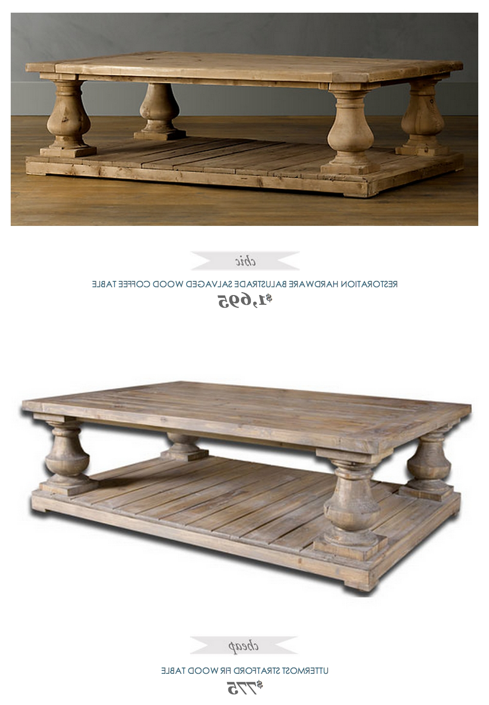 Restoration Hardware Balustrade Salvaged Wood Coffee Table In 2018 Within Well Known Recycled Pine Stone Side Tables (View 10 of 20)