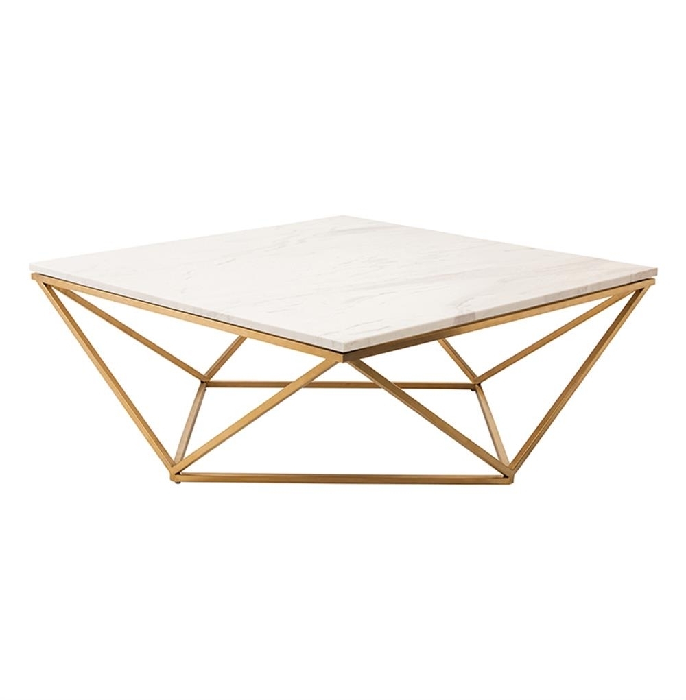 Rosalie Hollywood Regency Gold Steel White Marble Coffee Table Regarding Widely Used Suspend Ii Marble And Wood Coffee Tables (View 14 of 20)