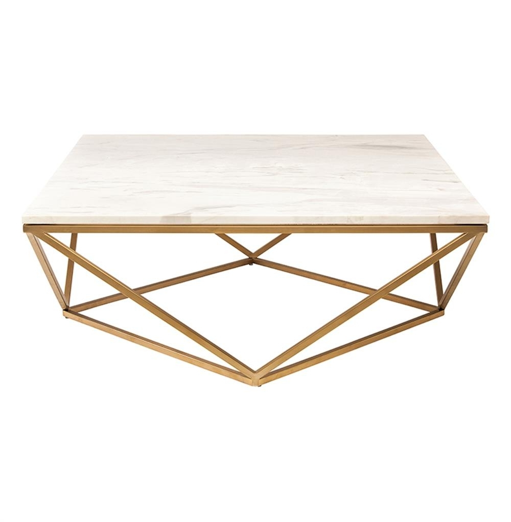 Rosalie Hollywood Regency Gold Steel White Marble Coffee Table With Regard To Preferred Modern Marble Iron Coffee Tables (View 17 of 20)