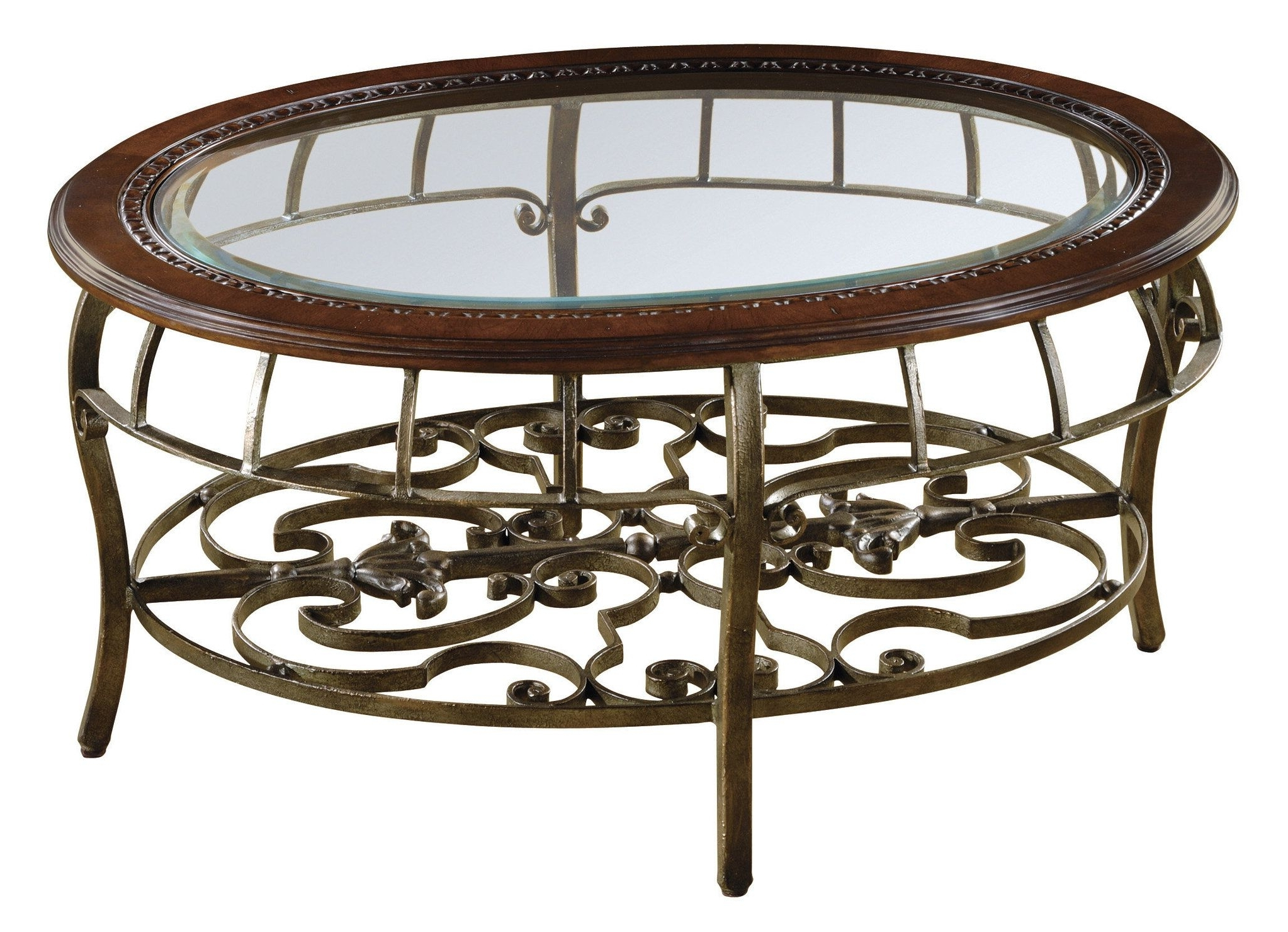 Round Beveled Glass Table – Traditional Coffee Table With Metal Base Intended For Latest Traditional Coffee Tables (View 12 of 20)