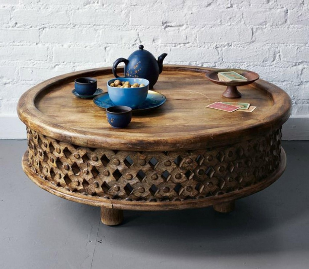 Round Carved Wood Coffee Table In Famous Round Carved Wood Coffee Tables (View 2 of 20)