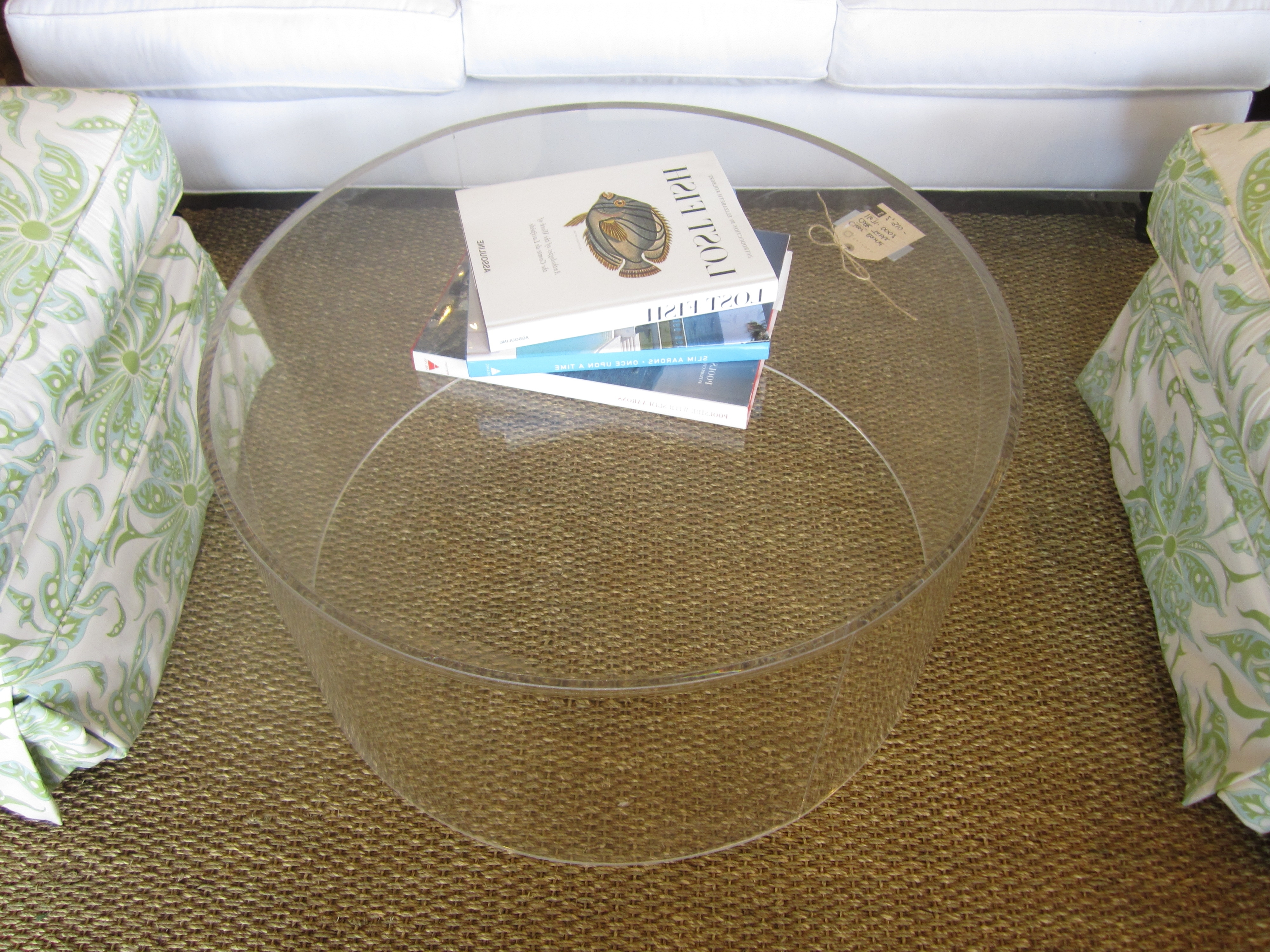 Round Clear Acrylic Coffee Table With Bookshelf Storage On Chunky Regarding Current Modern Acrylic Coffee Tables (View 18 of 20)