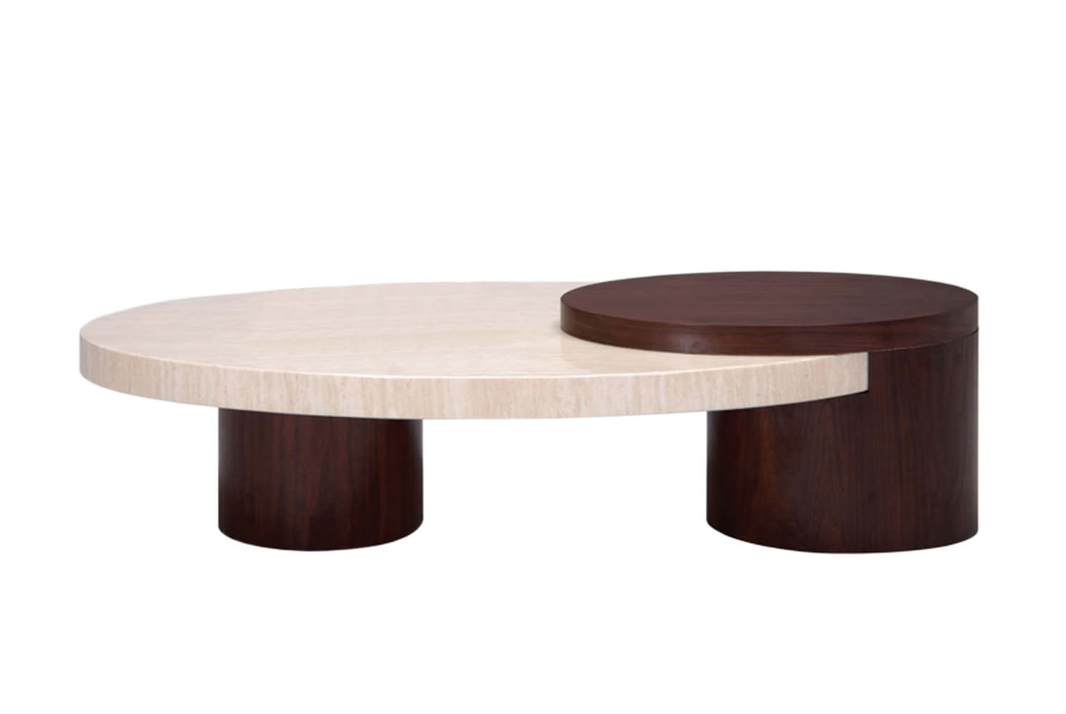 Round Travertine Coffee Table — Sushi Ichimura Decor : Contemporary Within Most Up To Date Chiseled Edge Coffee Tables (View 17 of 20)