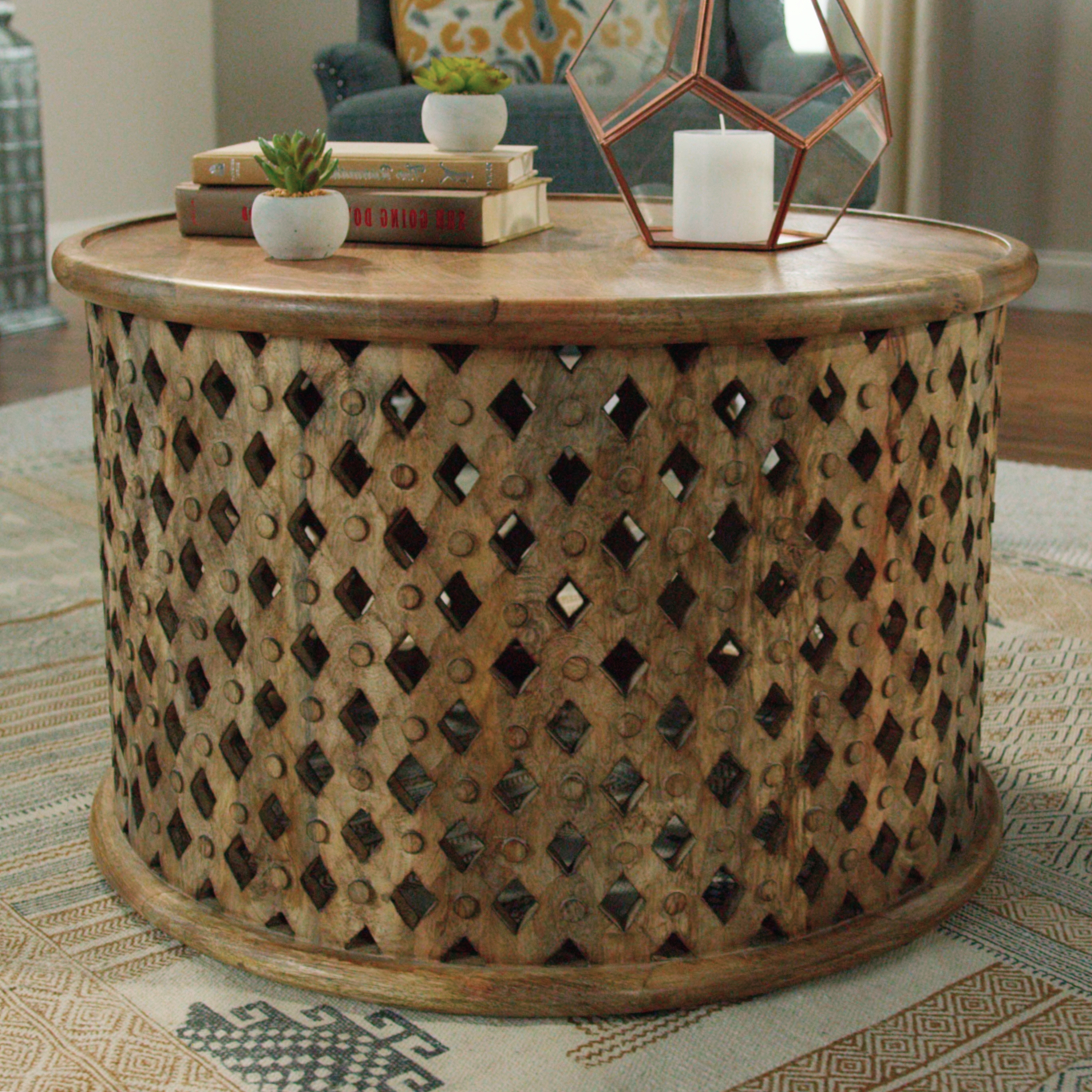 Featured Photo of Round Carved Wood Coffee Tables