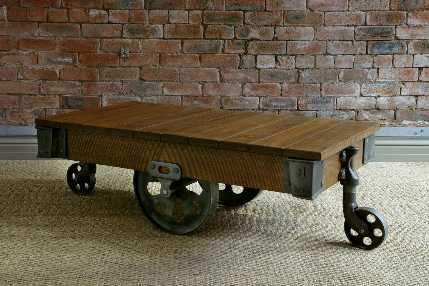 Rustic Wood Coffee Tables Handmade From Solid Oak Planks (View 4 of 20)