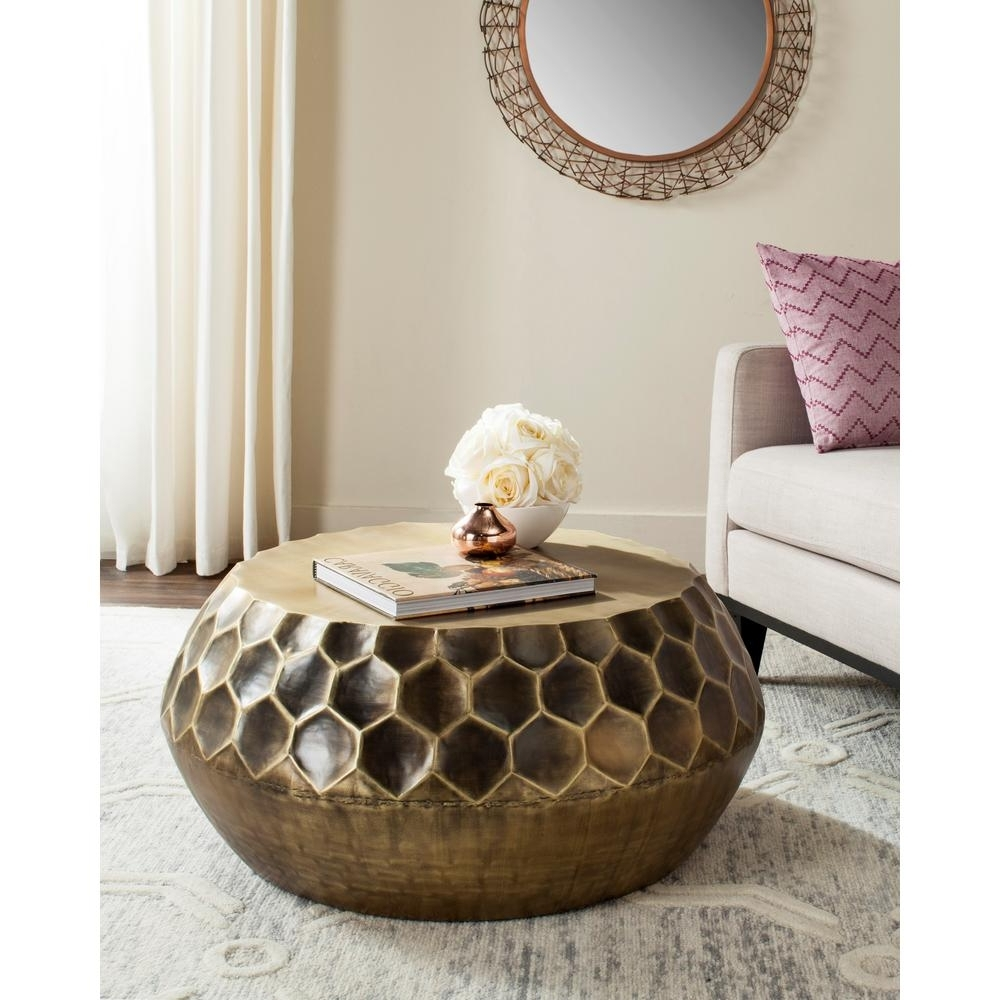 Safavieh Roxanna Antique Brass Coffee Table Fox3235a – The Home Depot Within Well Liked Antique Brass Coffee Tables (View 5 of 20)