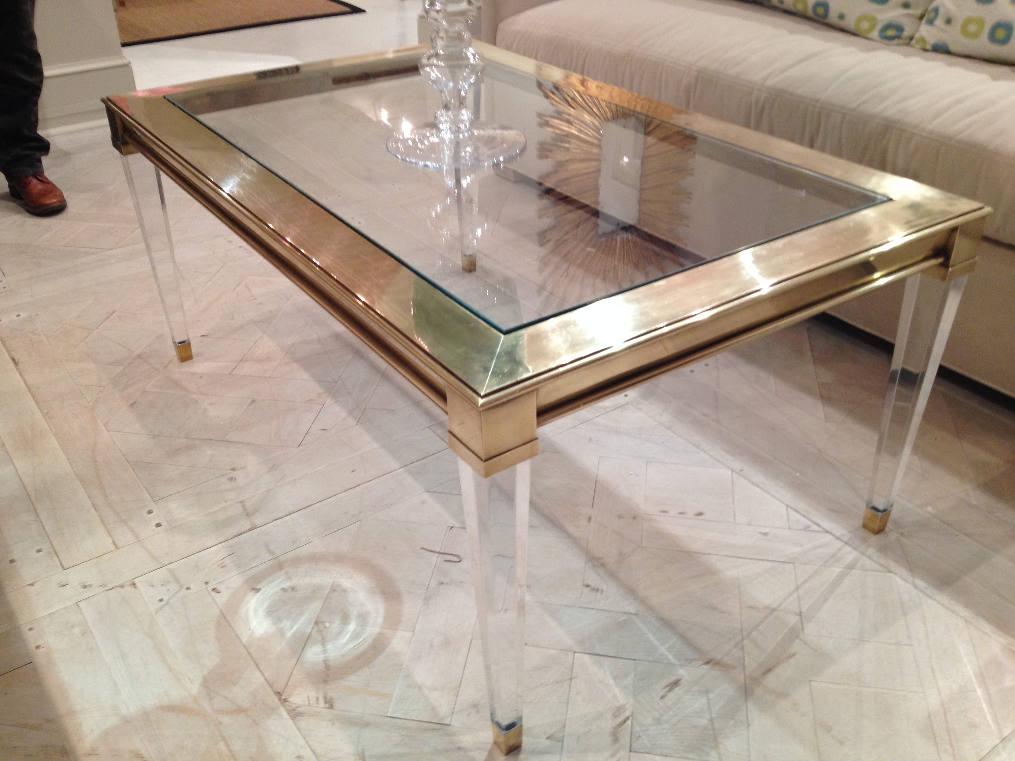 Salma Acrylic And Brass Coffee Table – Mecox Gardens Intended For Best And Newest Acrylic Glass And Brass Coffee Tables (View 6 of 20)