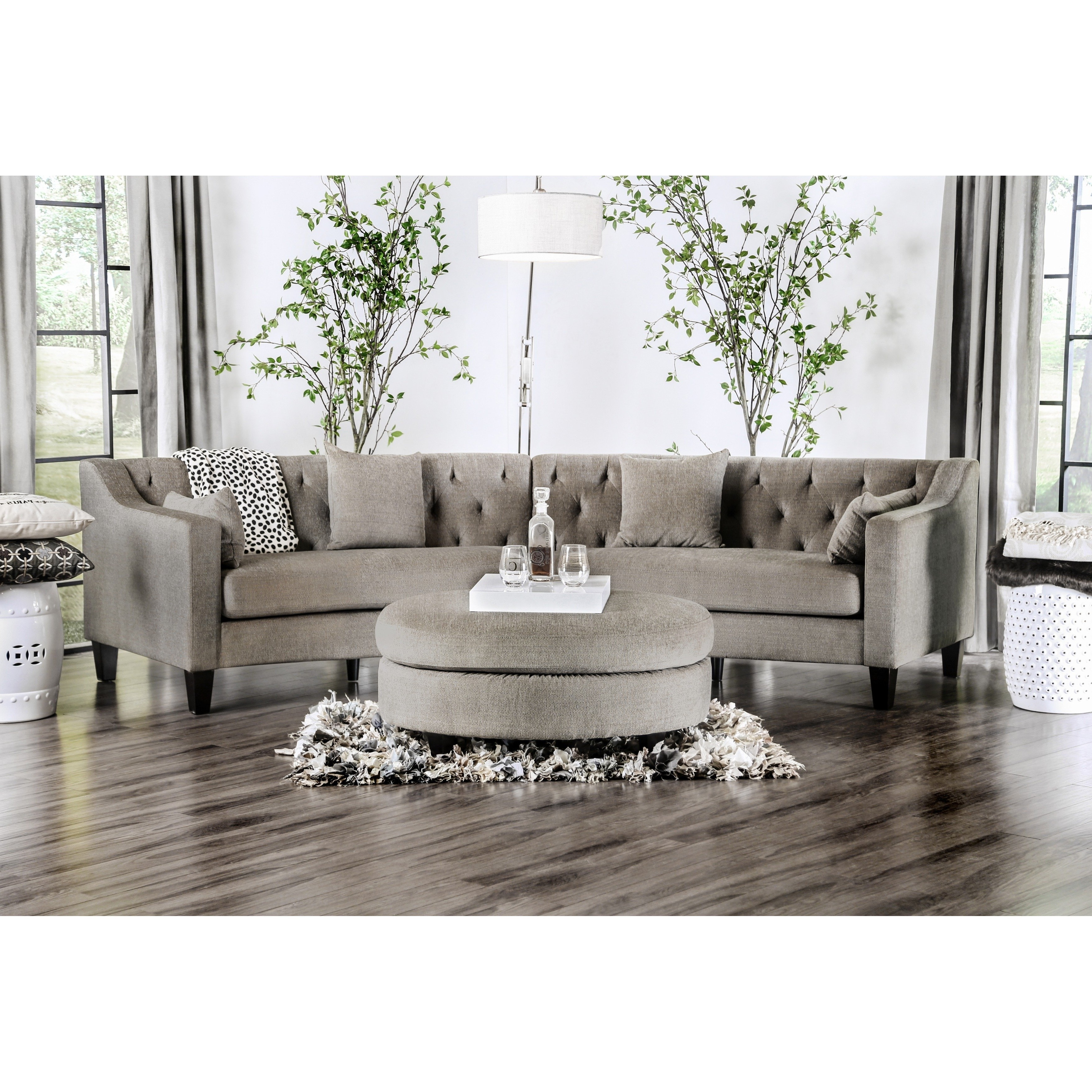 Shop Aretha Contemporary Grey Tufted Rounded Sectional Sofa For Most Popular Contemporary Curves Coffee Tables (View 14 of 20)