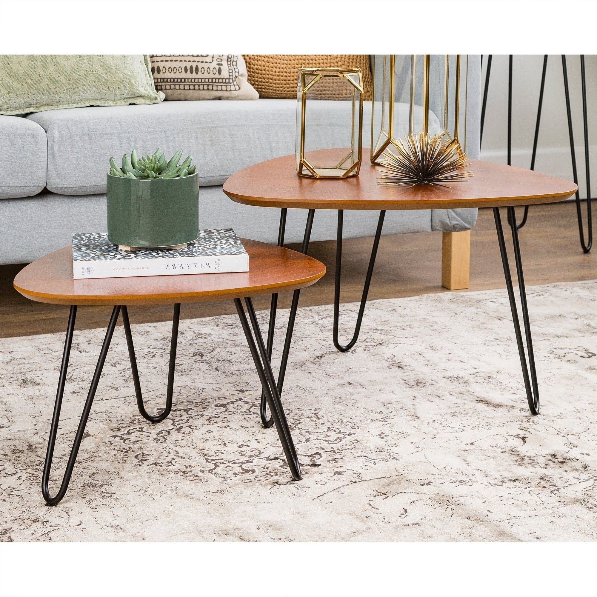 Shop Carson Carrington Arendal Hairpin Leg Walnut Wood Nesting Within Popular Set Of Nesting Coffee Tables (View 14 of 20)
