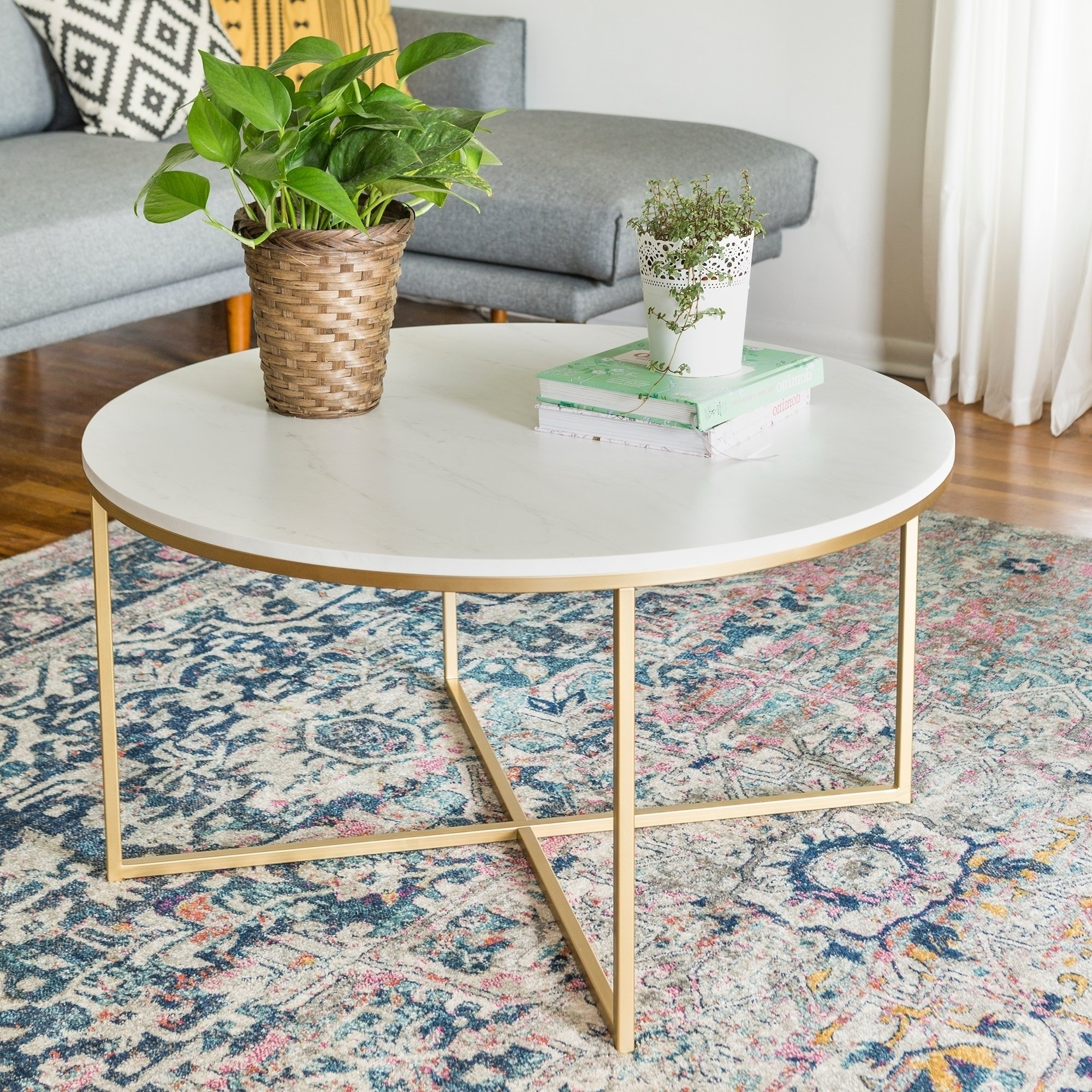 Shop Clay Alder Home Toston 36 Inch Coffee Table With X Base – On For Popular Slab Small Marble Coffee Tables With Antiqued Silver Base (View 20 of 20)