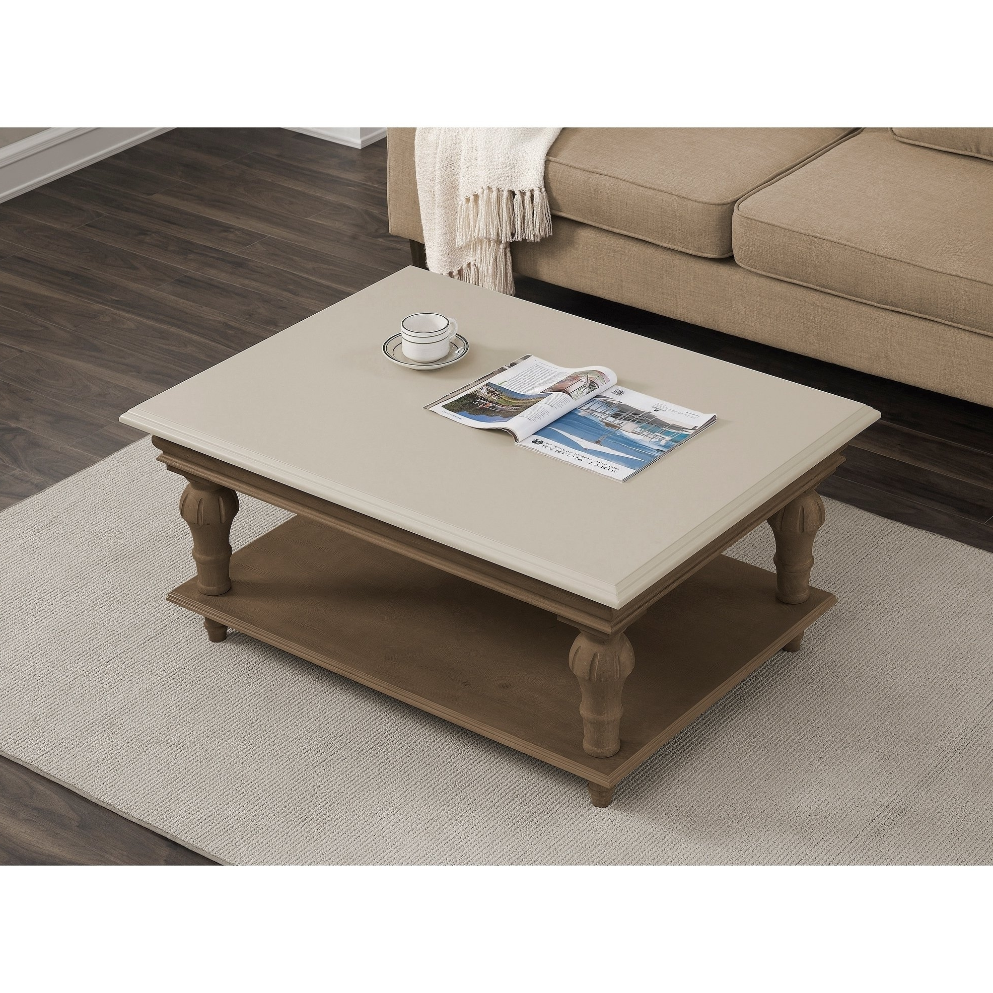 Shop Elements Cream Wood Coffee Table – Free Shipping Today With Regard To Recent Element Ivory Rectangular Coffee Tables (View 9 of 20)