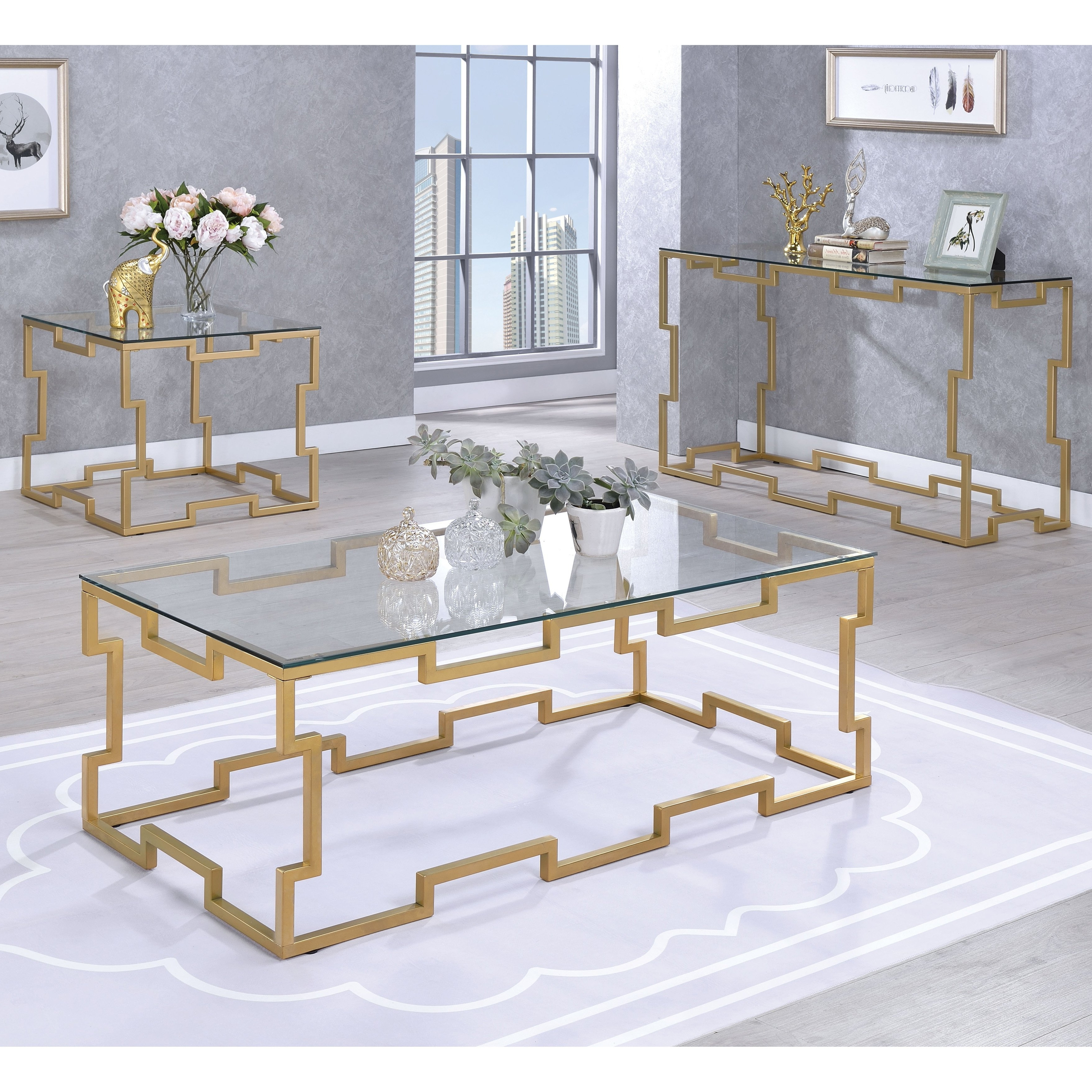 Shop Furniture Of America Blaire Contemporary Gold And Glass Coffee Inside Popular Cuff Hammered Gold Coffee Tables (View 16 of 20)