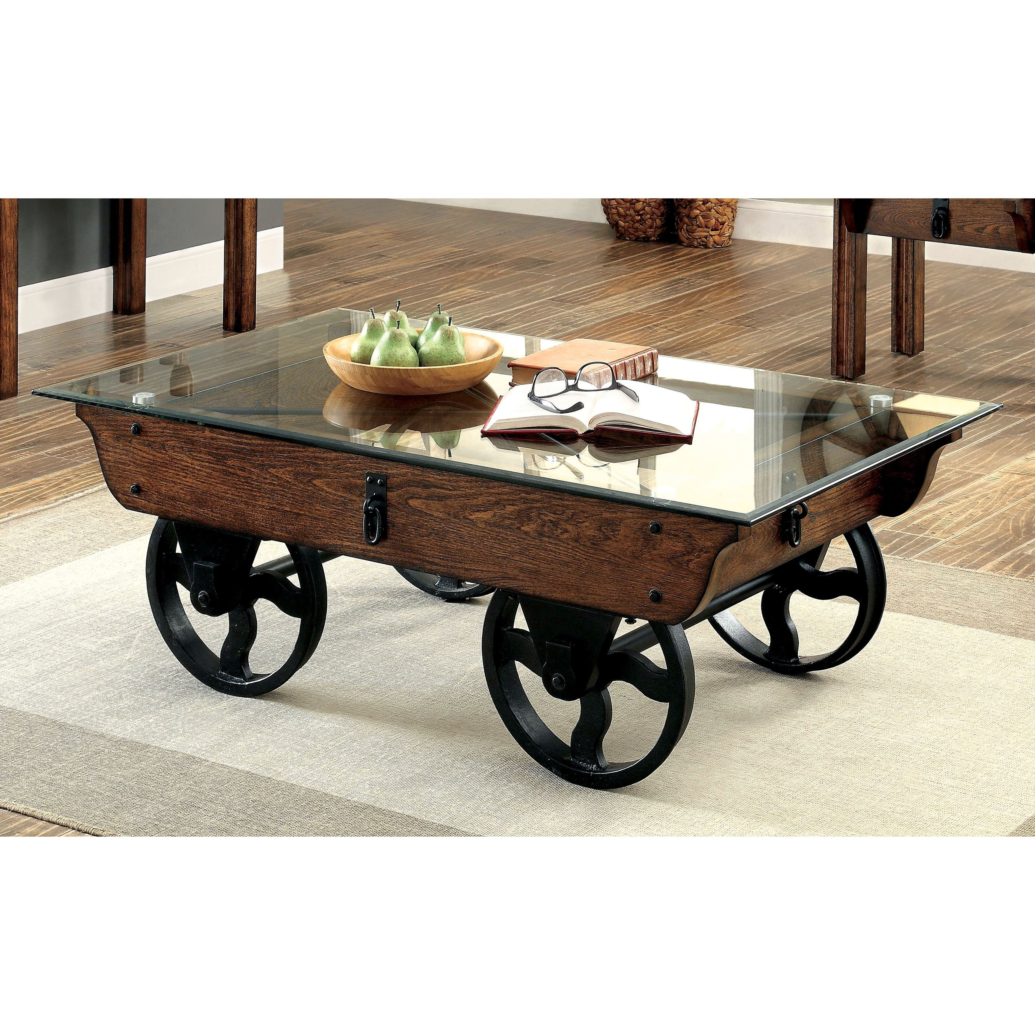 Shop Furniture Of America Charlotte Rustic Glass Top Coffee Table For Recent Natural Wheel Coffee Tables (View 12 of 20)