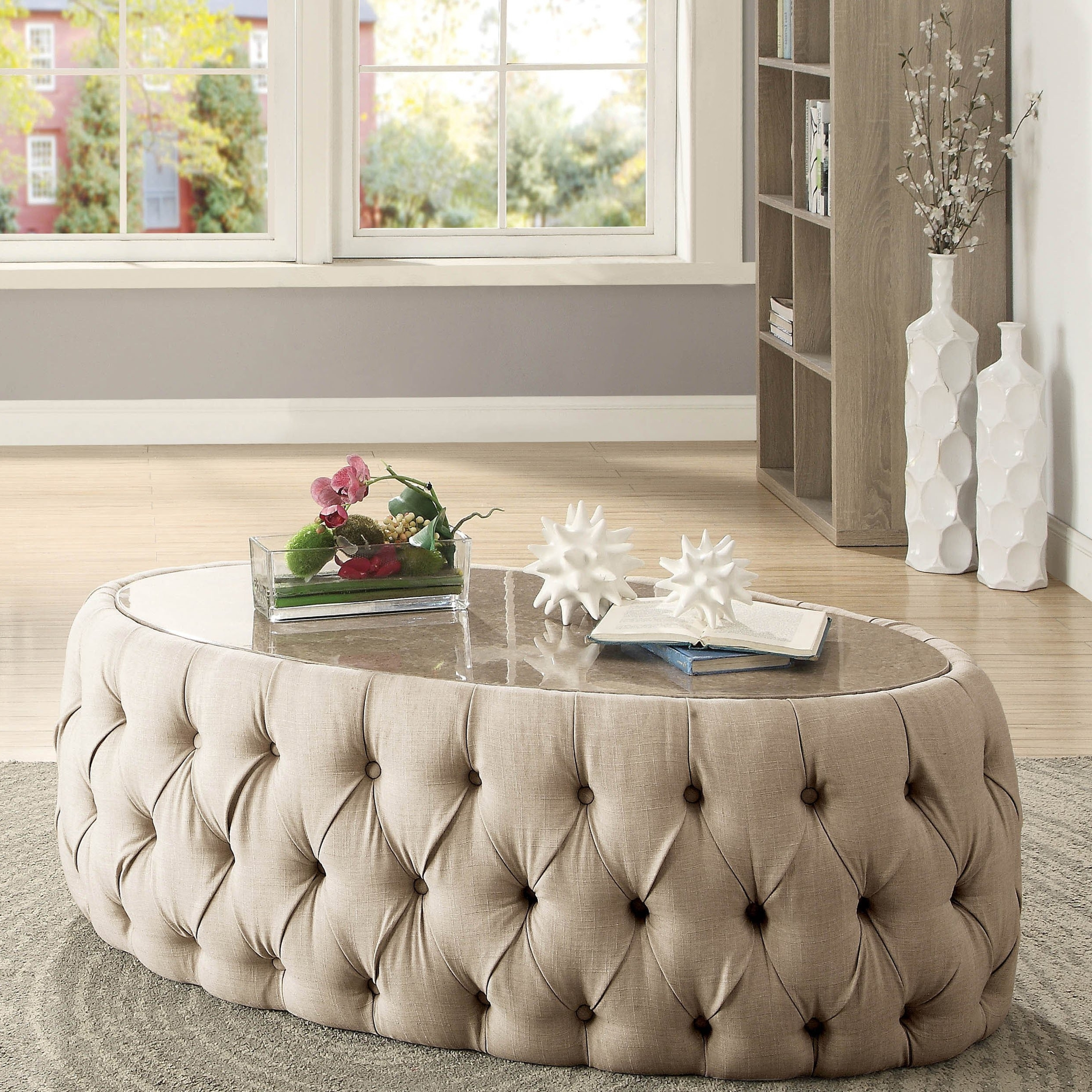 Shop Furniture Of America Elise Faux Marble Button Tufted Oval With Newest Button Tufted Coffee Tables (View 15 of 20)