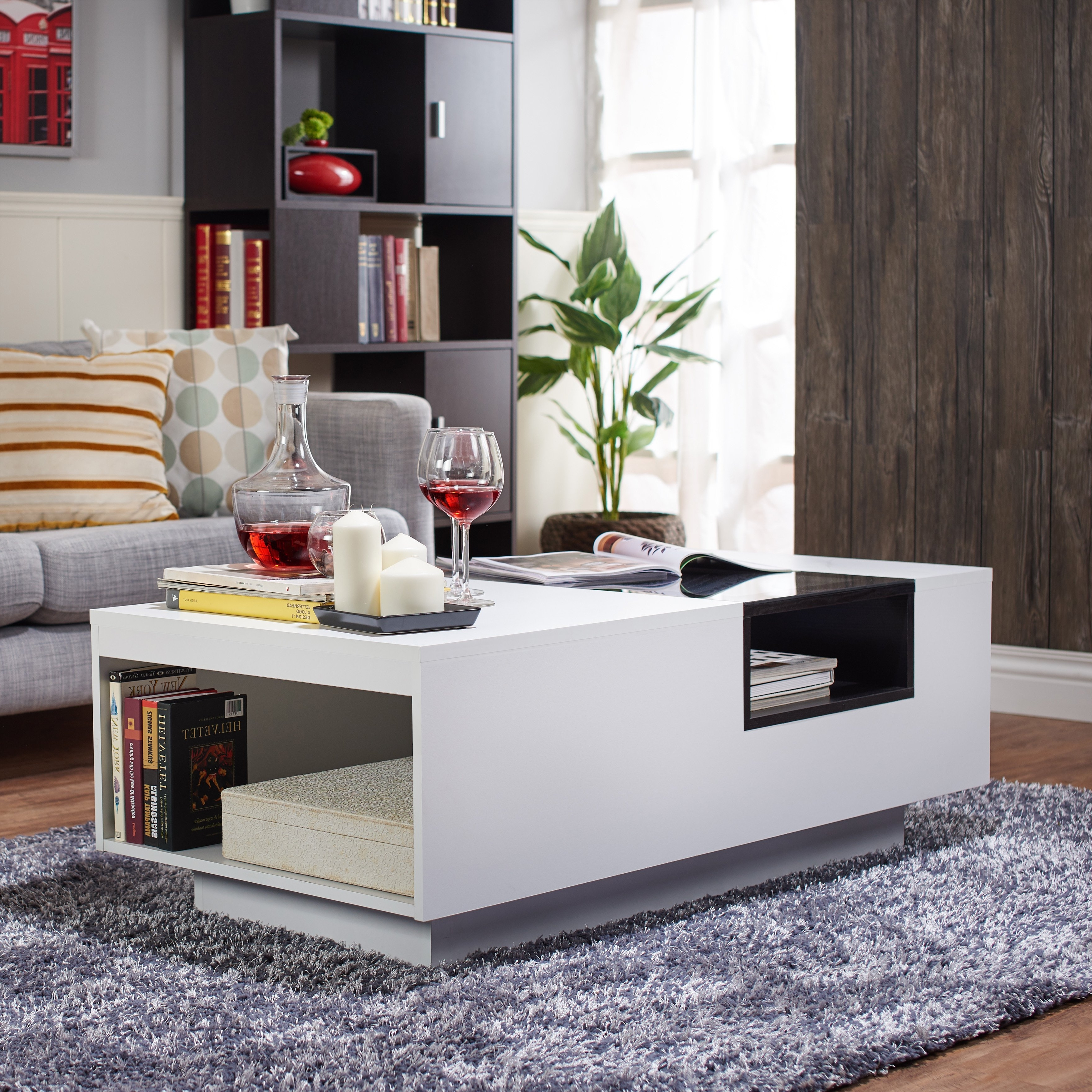 Shop Furniture Of America Kassalie Modern Two Tone White/black Glass Inside Most Up To Date 2 Tone Grey And White Marble Coffee Tables (View 16 of 20)