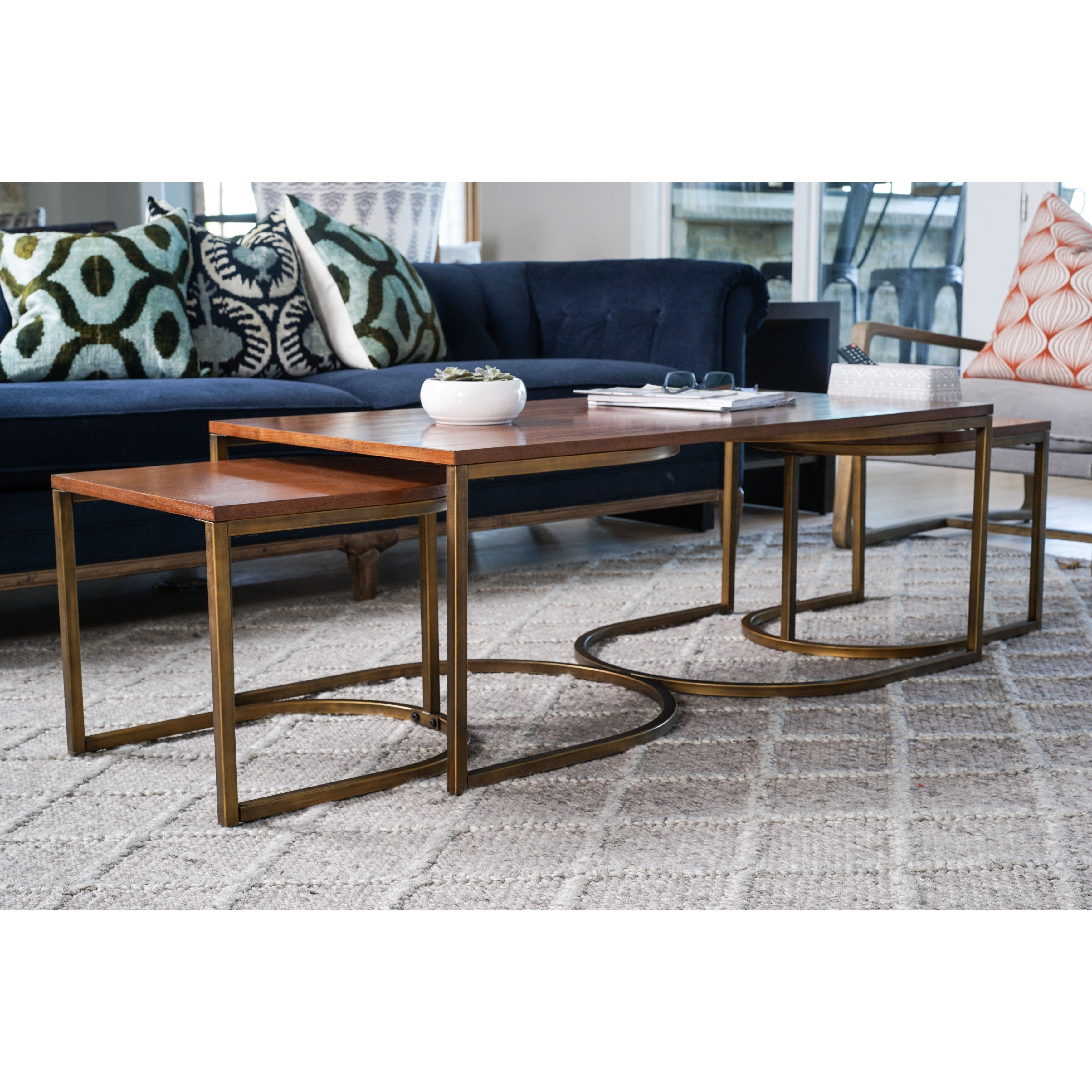 Shop Lincoln Deco Walnut Nesting Coffee Tables, Haven Homehives Inside Famous Haven Coffee Tables (View 10 of 20)