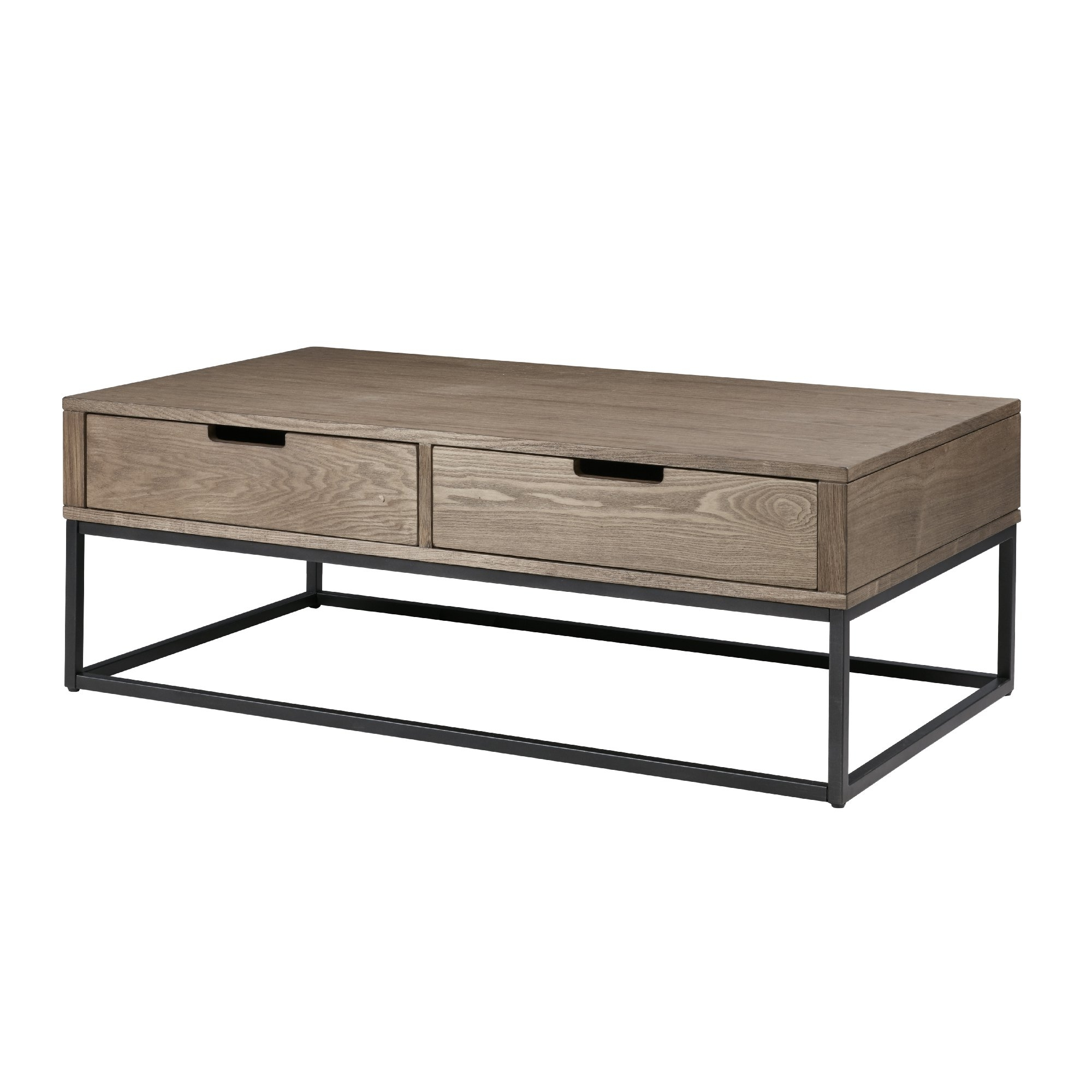 Shop Madison Park Becca Brown/slate Wood/metal 2 Drawer Storage With Famous Natural 2 Drawer Shutter Coffee Tables (View 13 of 20)