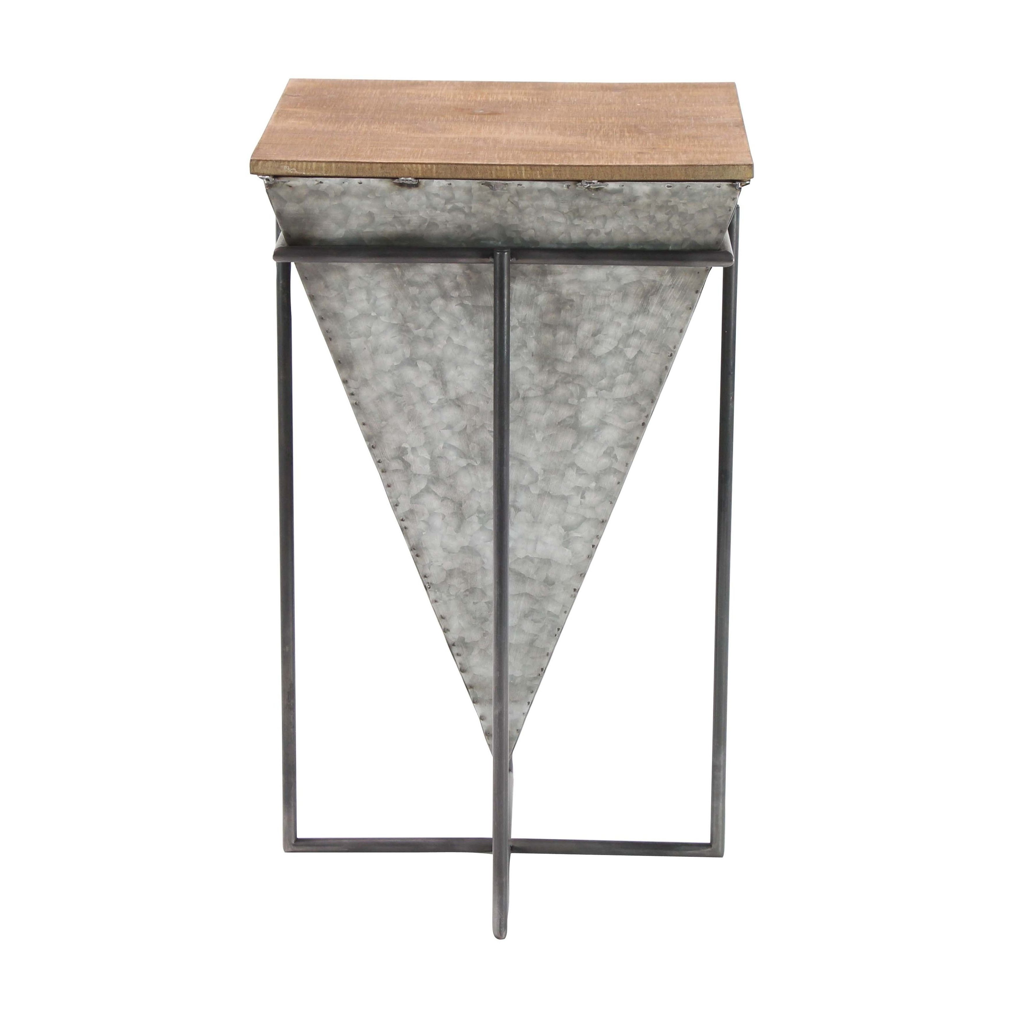 Shop Modern Inverted Pyramid Iron And Wood Accent Table – On Sale In Newest Inverted Triangle Coffee Tables (View 2 of 20)