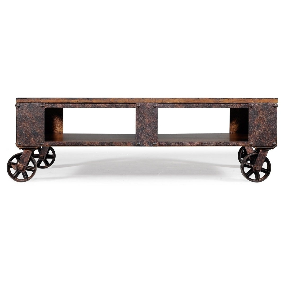 Shop Pine Canopy Canova Distressed Pine Wood Coffee Table On Casters Throughout Most Up To Date Natural Pine Coffee Tables (View 19 of 20)
